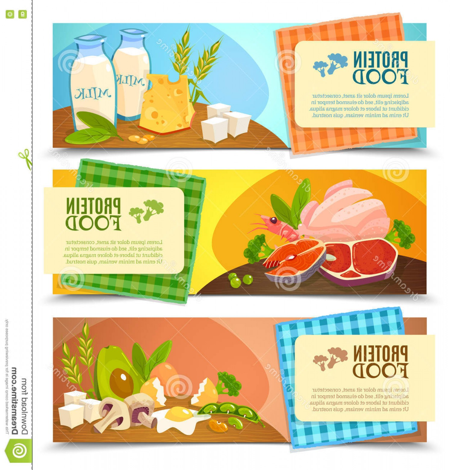 Vector Protein: Stock Illustration Protein Food Flat Horizontal Banners Set Healthy Diet Information High Abstract Vector Illustration Image