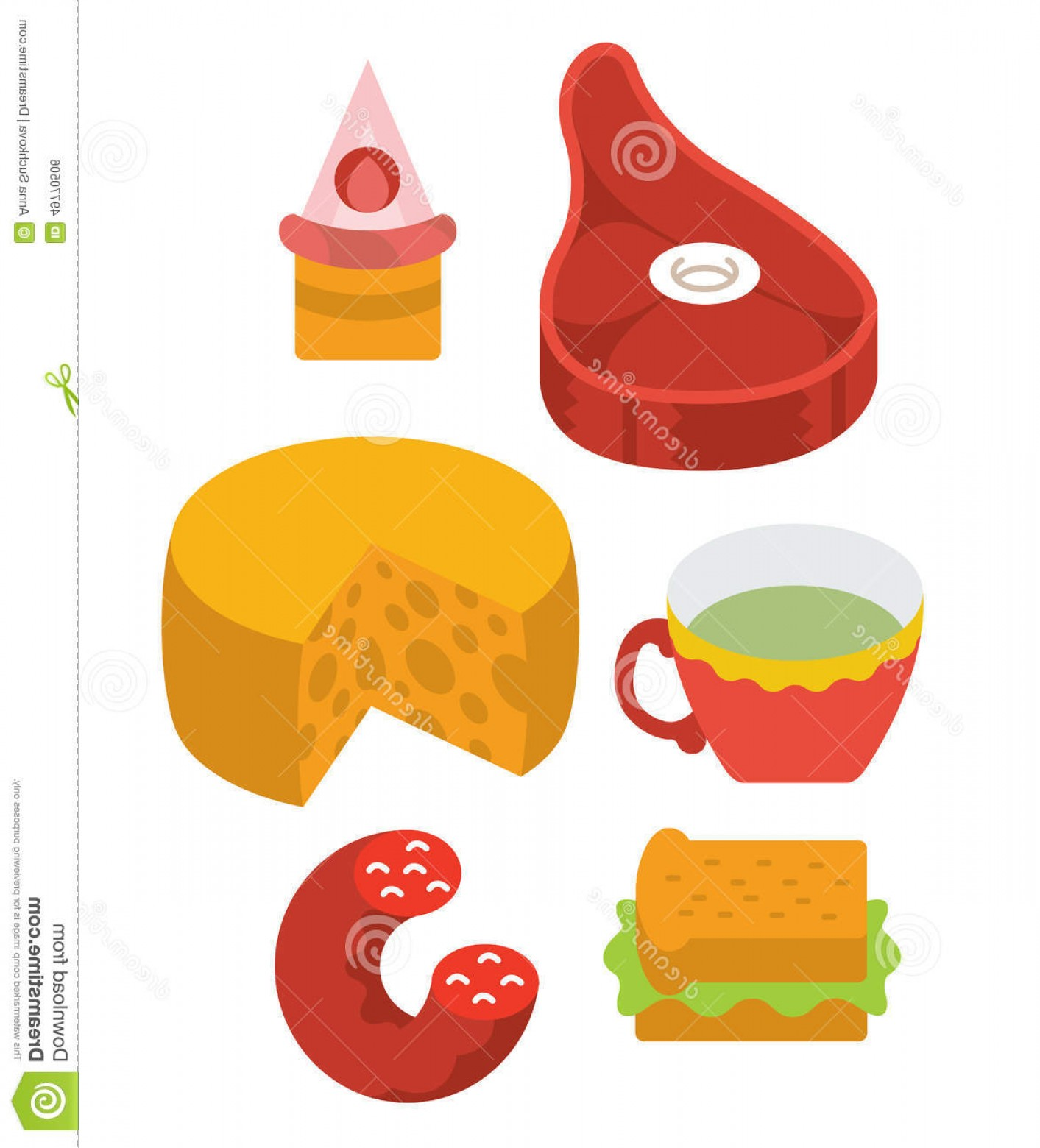 Vector Protein: Stock Illustration Protein Food Full Color Flat Design Icon Vector Illustartion Stylized Perspective Image