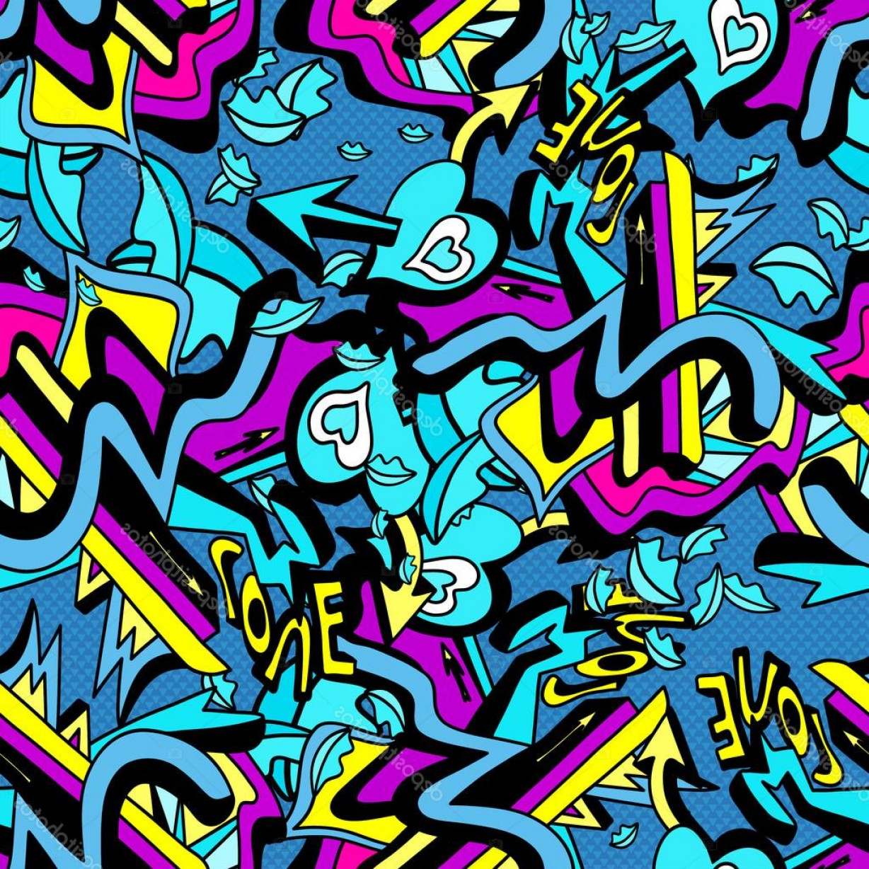 Graffiti Lines Vector: Stock Illustration Psychedelic Graffiti Lines And Heart