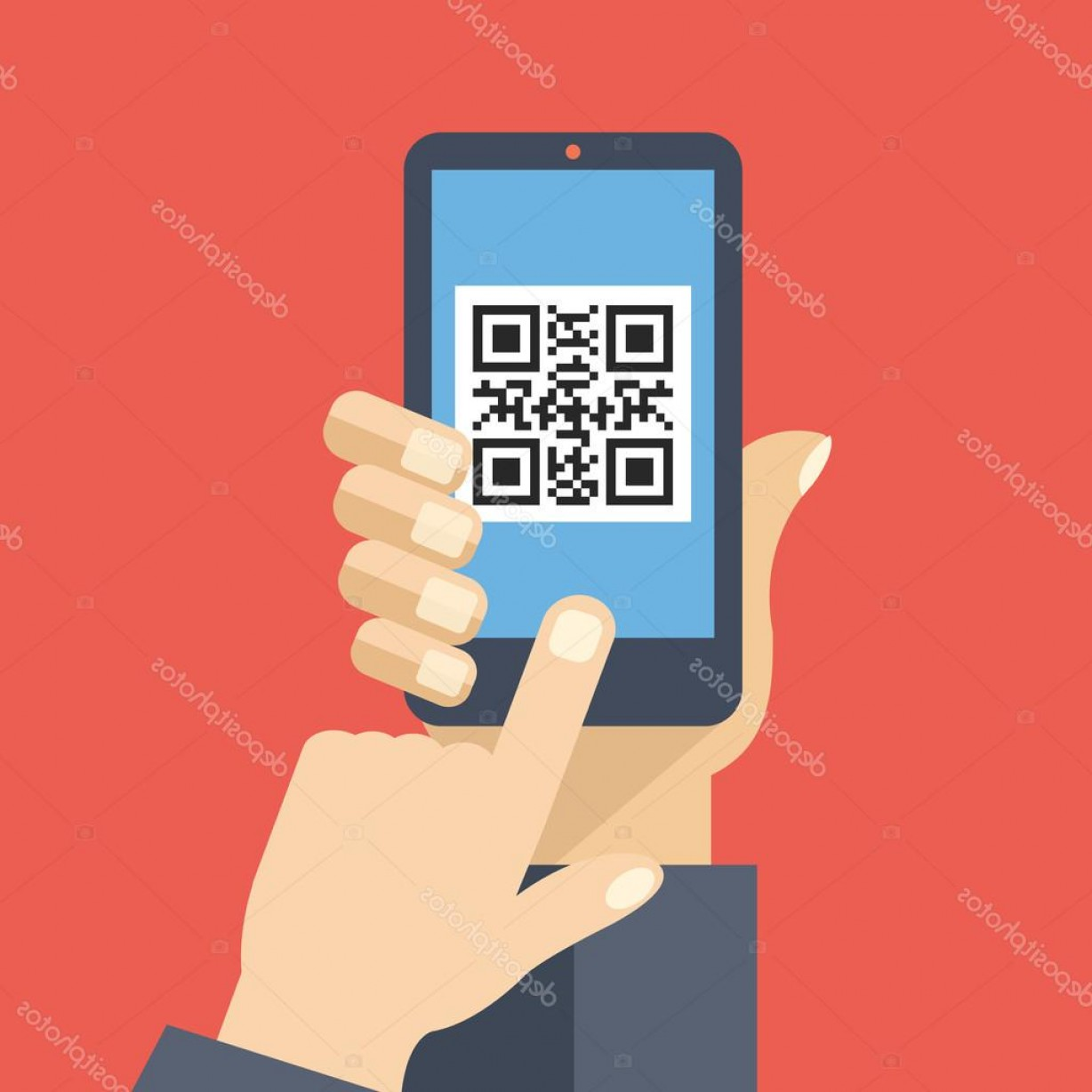 QR Mobile Phone Vector: Stock Illustration Qr Code Reader App On
