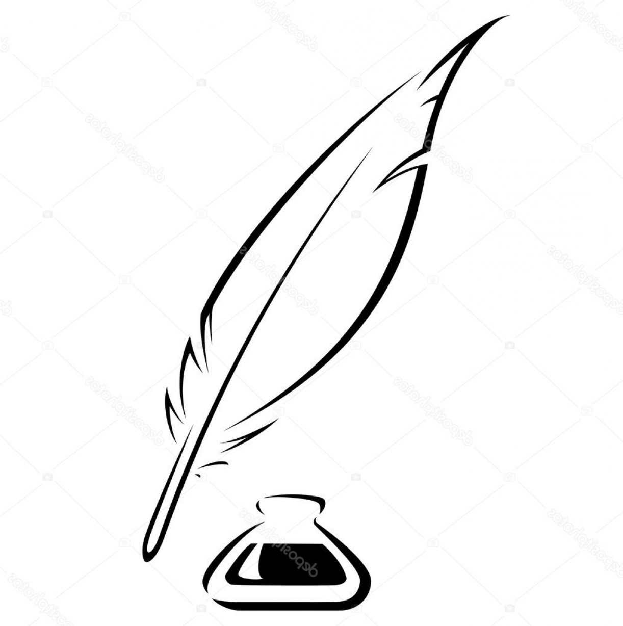 Quill Pen Vector: Stock Illustration Quill And Ink Pot Black