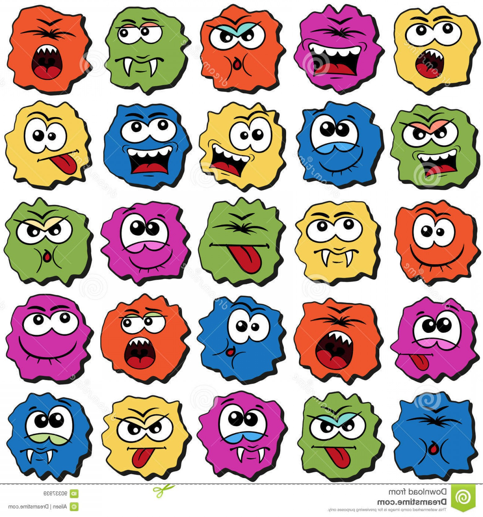 Rainbow Face Emoji Vector: Stock Illustration Rainbow Emoji Faces Vector Set Pattern Colored Cartoon Doodle Design Comics Style Image