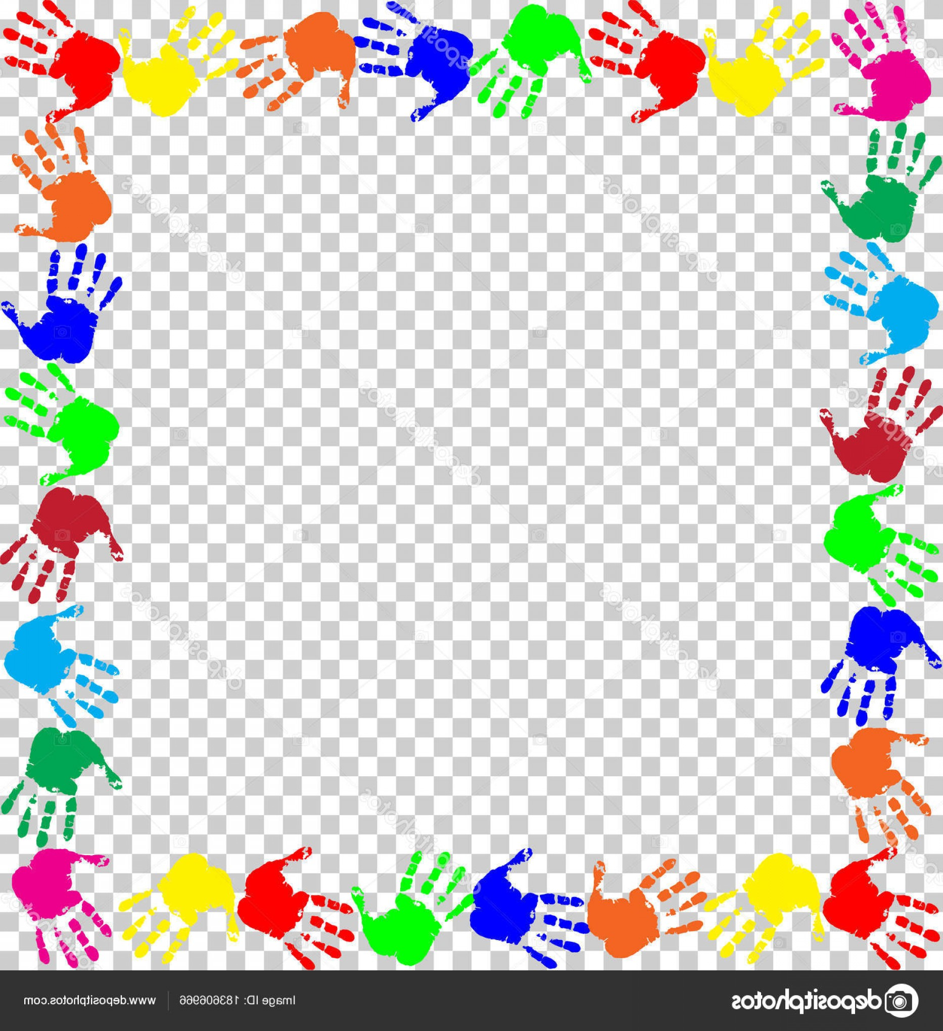 Hand Prints Vector Transparent Background: Stock Illustration Rainbow Frame With Multicolored Handprints