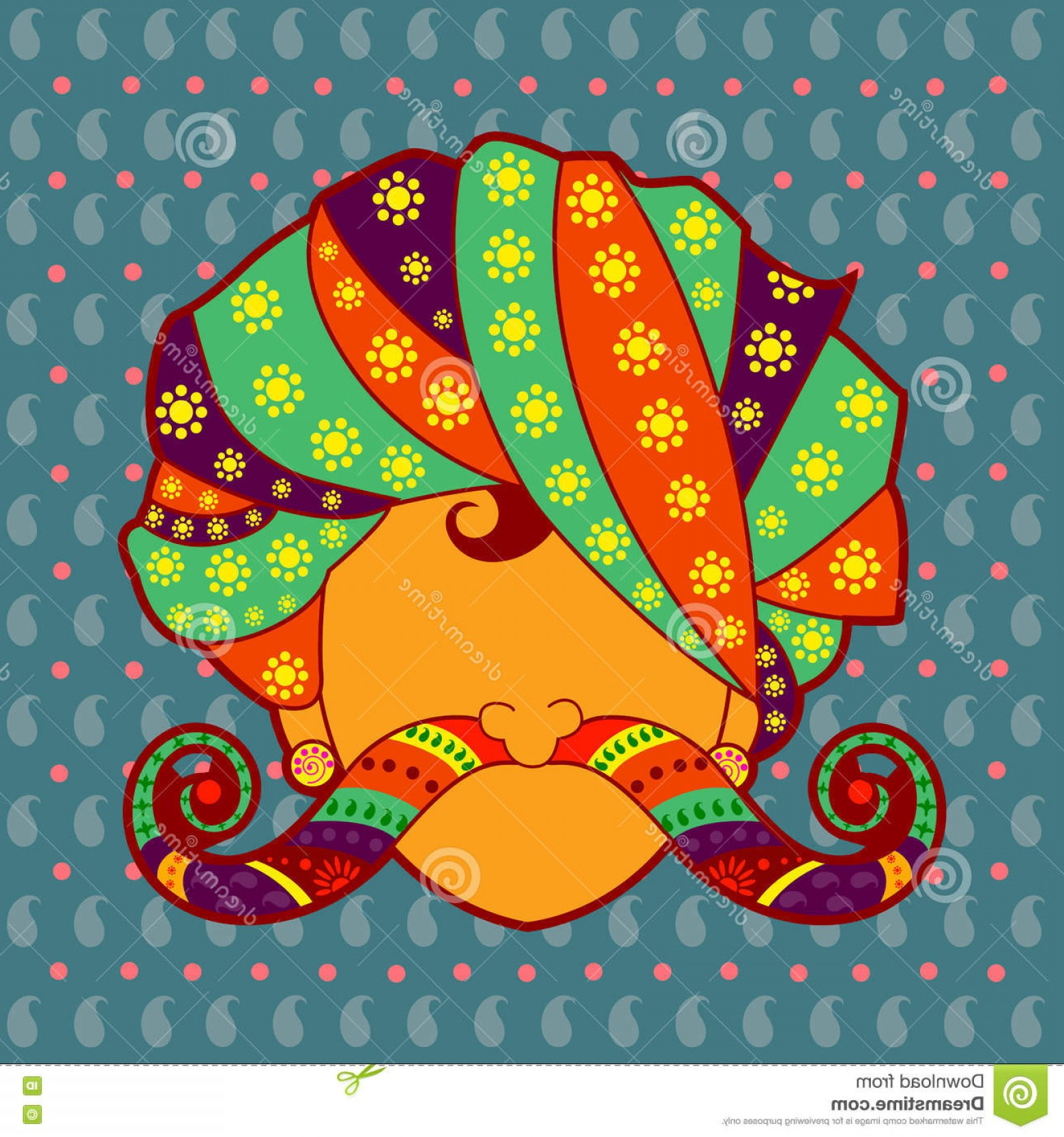 India Clip Art Vector Designs: Stock Illustration Rajasthani Man Turban Moustache Vector Design Indian Art Style Image