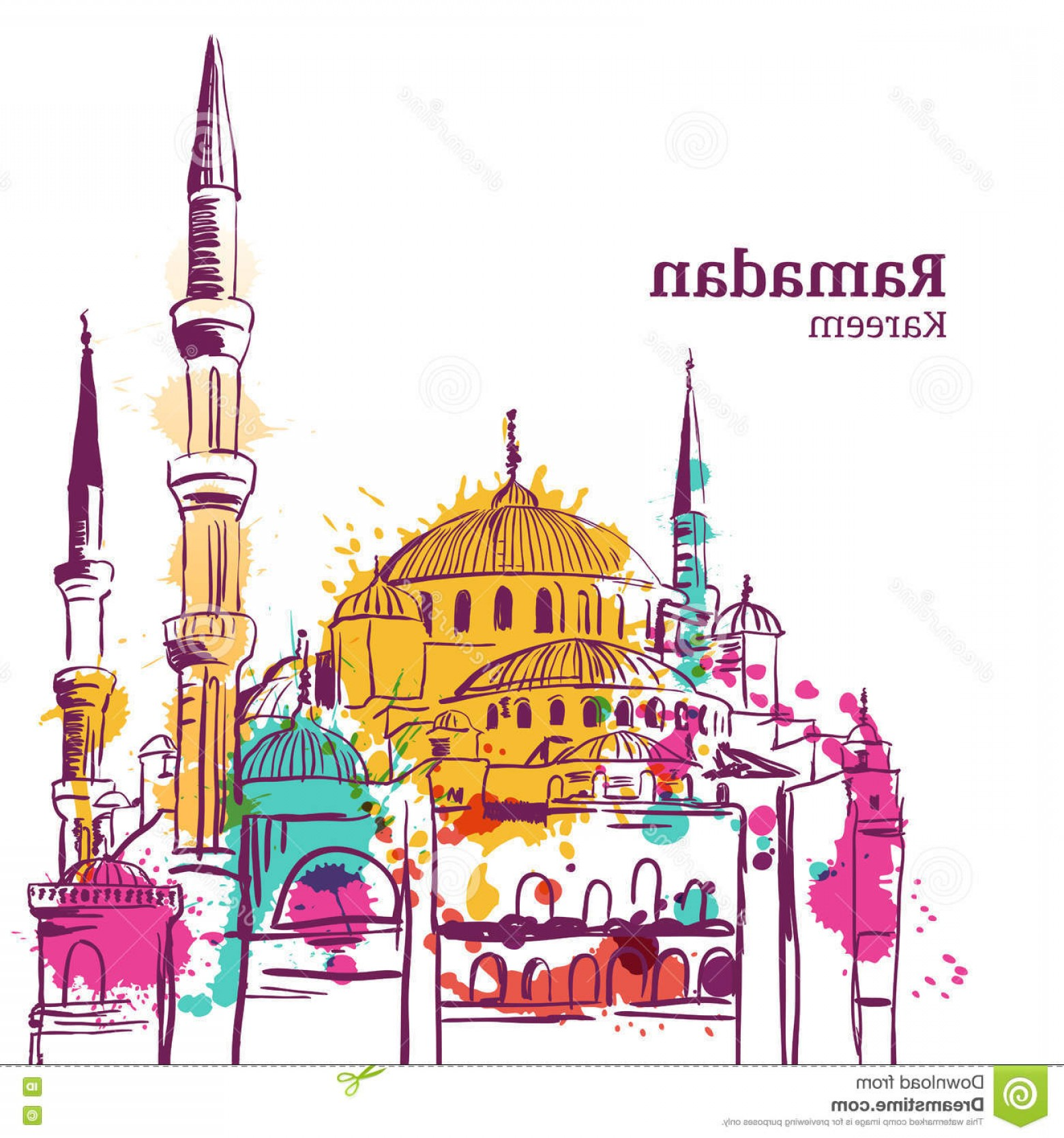 Mosque Vector Map: Stock Illustration Ramadan Kareem Holiday Design Watercolor Sketch Illustration Mosque Vector Background Greeting Card Image
