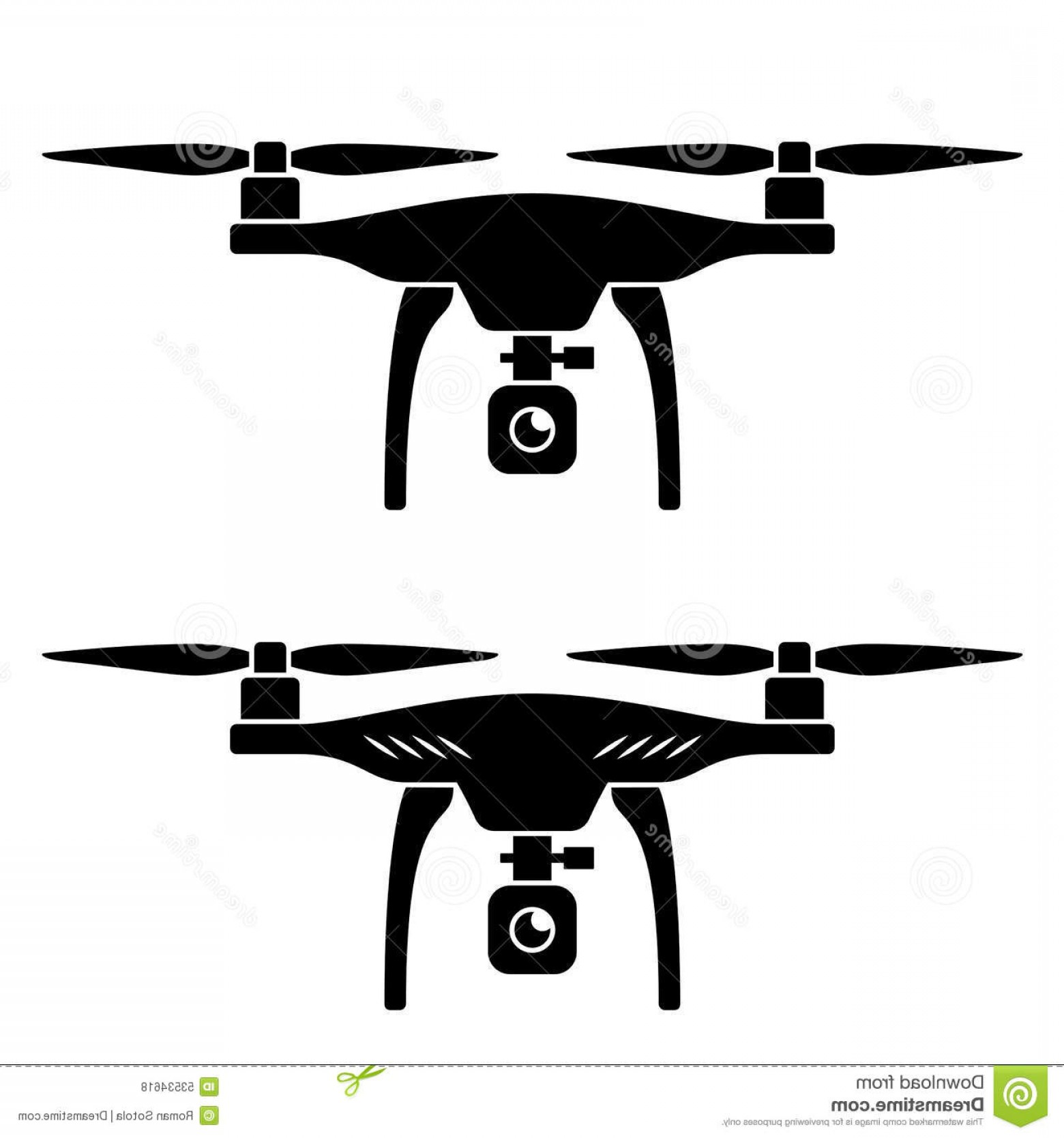 Vector Travel APS: Stock Illustration Rc Drone Quadcopter Camera Black Symbol Illustration Web Image