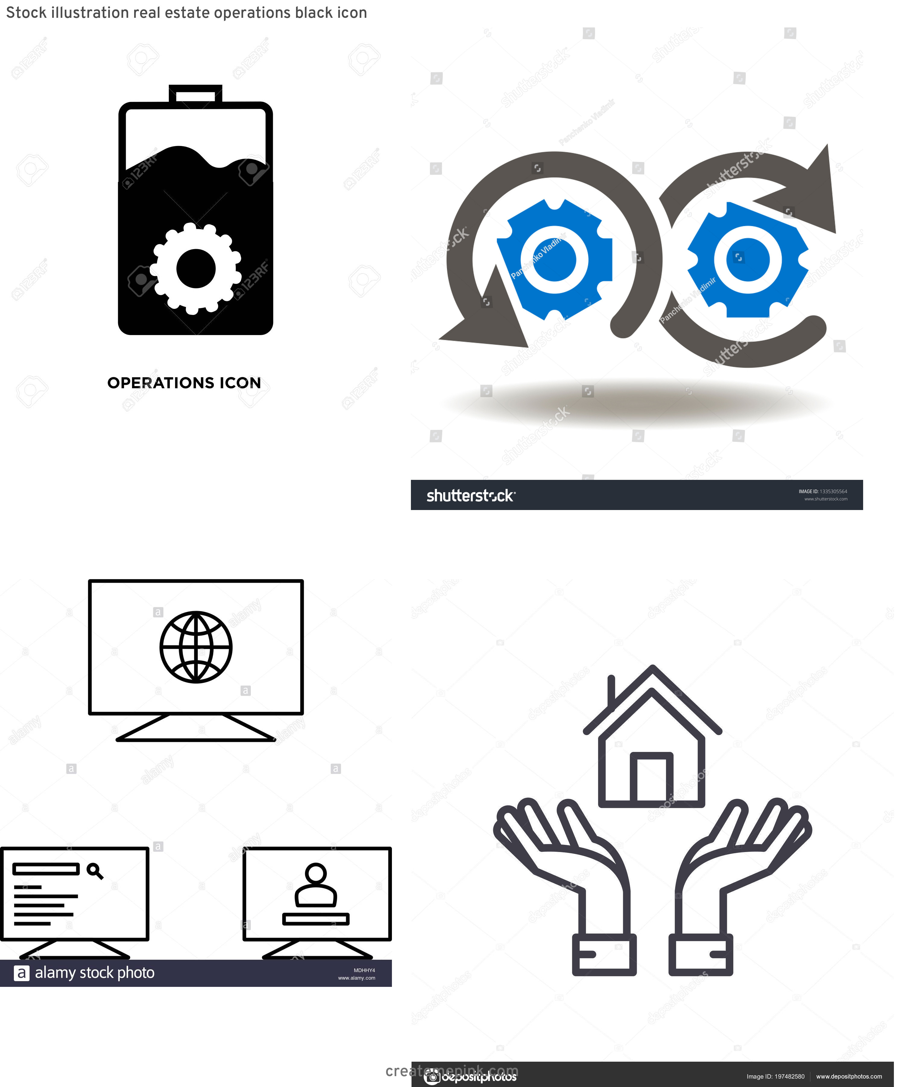 Operations Icon Vector: Stock Illustration Real Estate Operations Black Icon