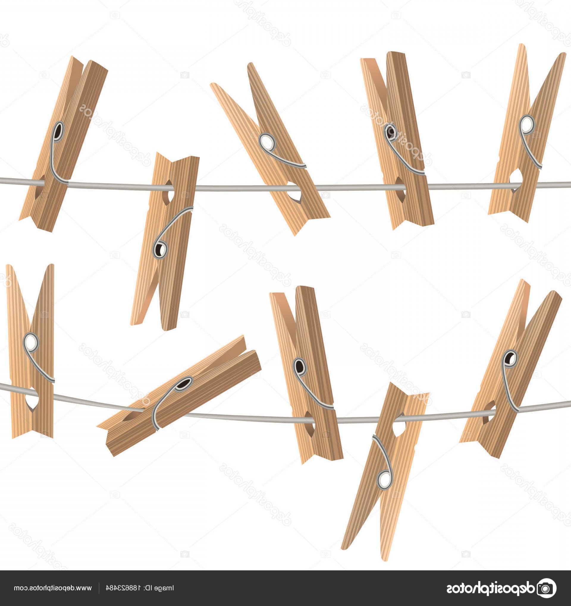 Vector Clothes Pins: Stock Illustration Realistic Detailed D Wooden Clothespins