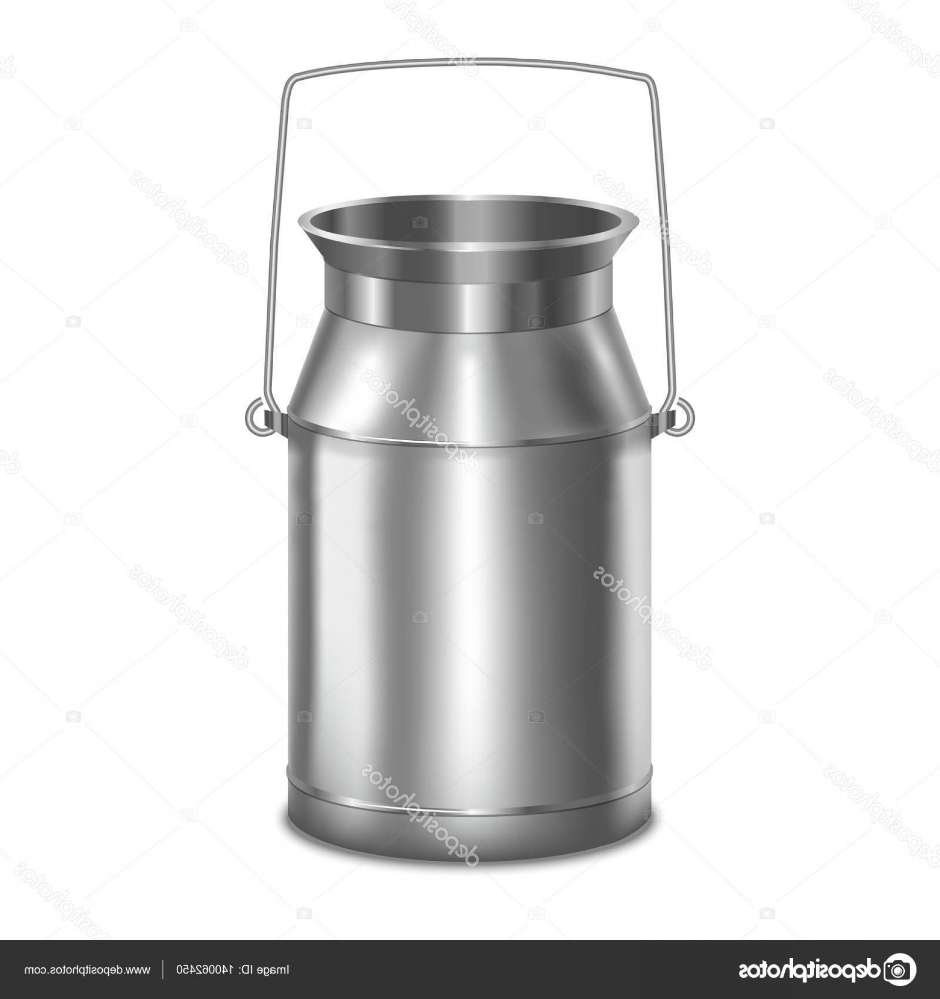 Vector Milk Container: Stock Illustration Realistic Metal Shiny Milk Container
