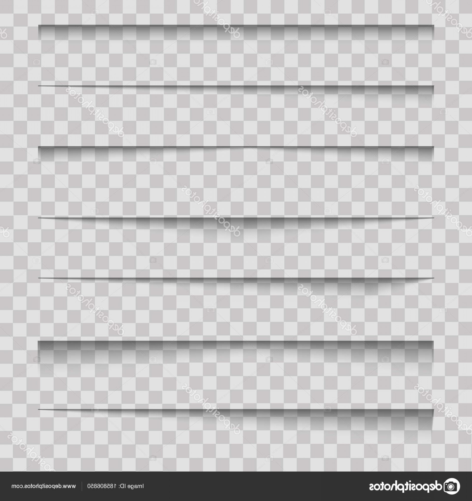 Vector Line Dividers Transparent Backgrounds: Stock Illustration Realistic Paper Divider Shadow Effects