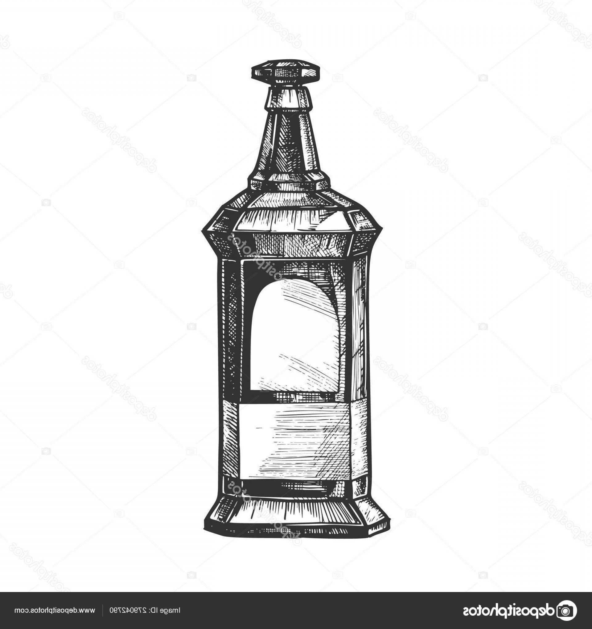 Booze Bottle Vector: Stock Illustration Rectangular Vintage Whisky Booze Bottle