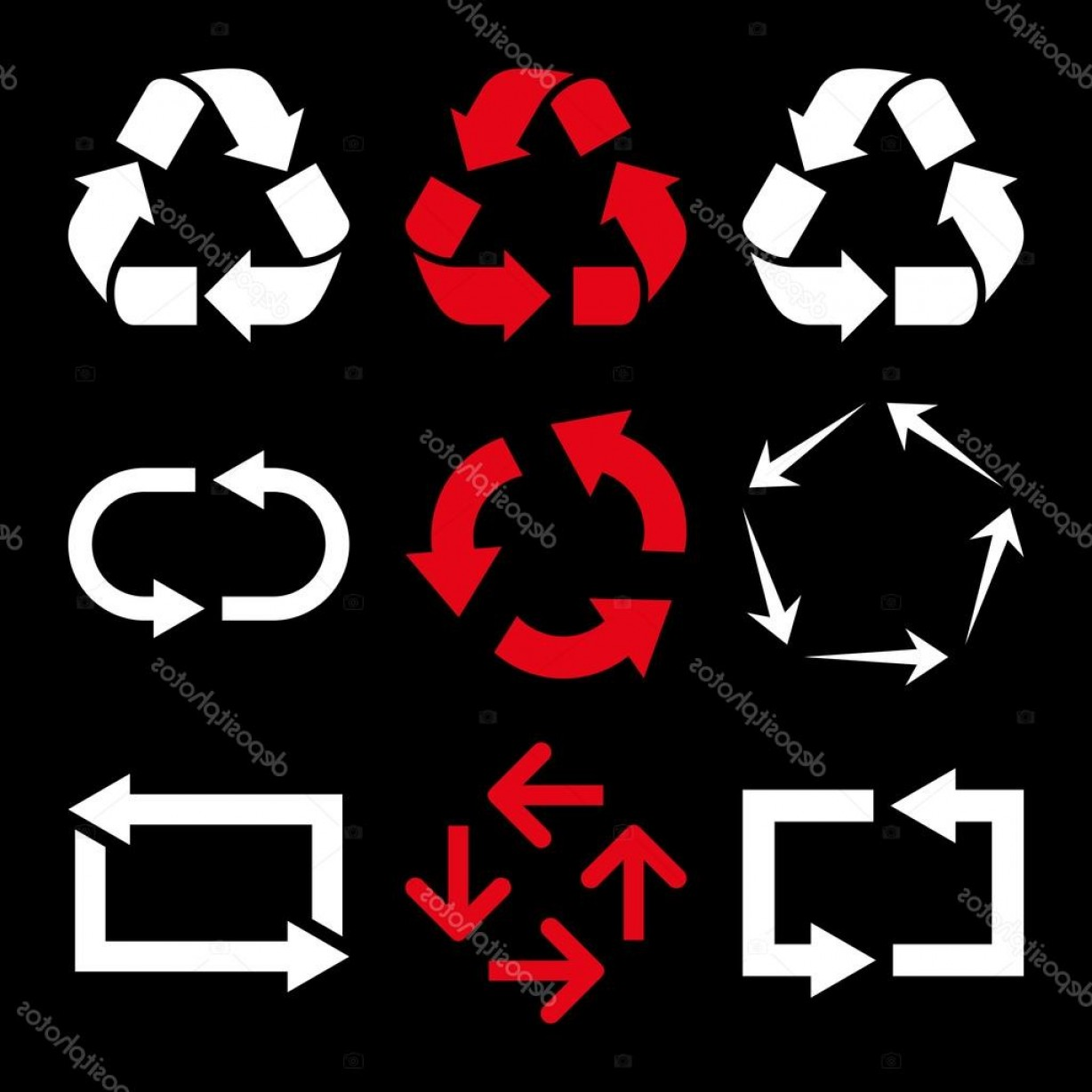 Recycle Icon Vector Red: Stock Illustration Recycle Arrows Vector Flat Icon