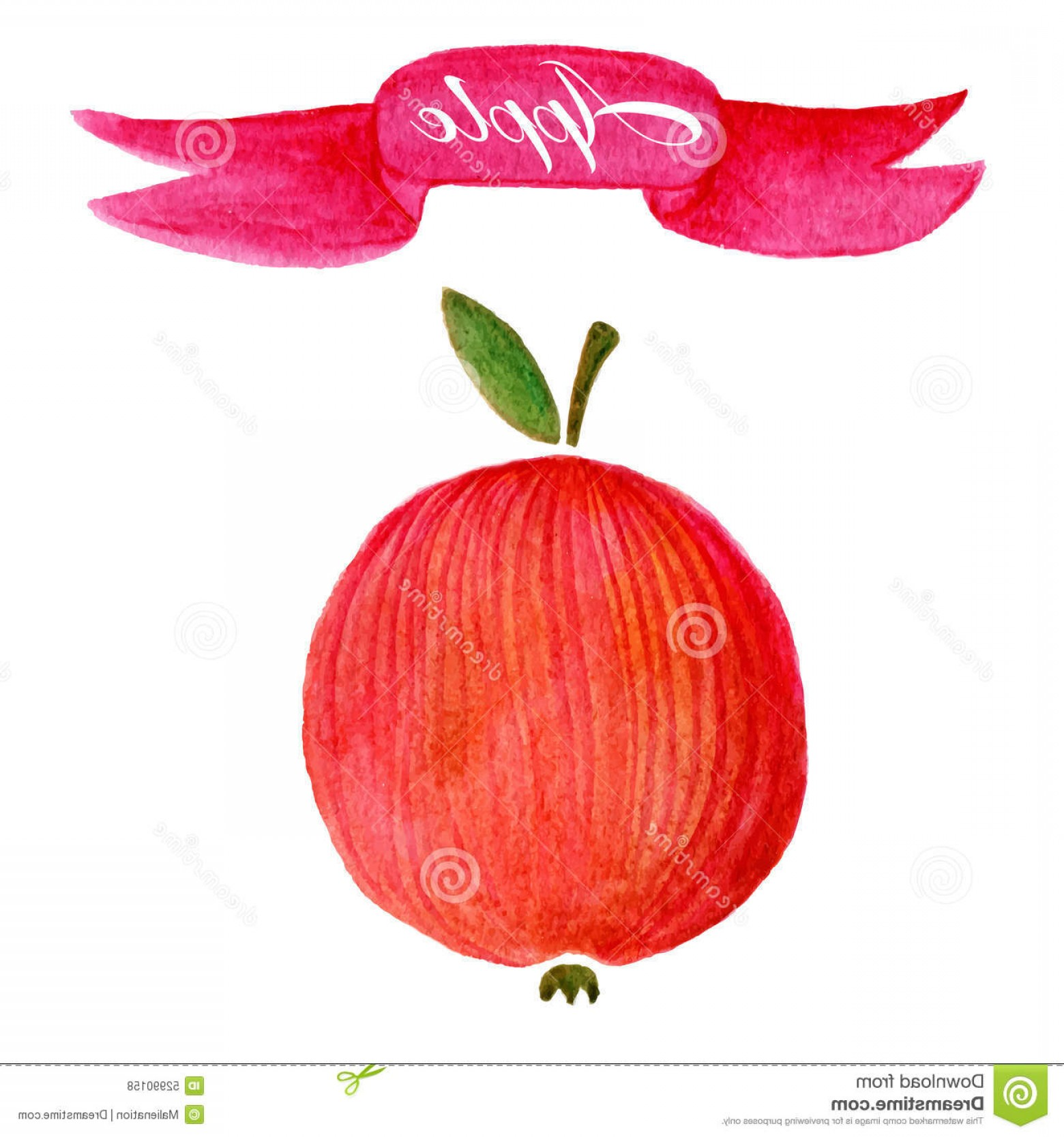 Red Apple Vector Logo: Stock Illustration Red Apple Logo Design Template Food Fruit Icon Watercolor Watercolor Vector Healthy Image