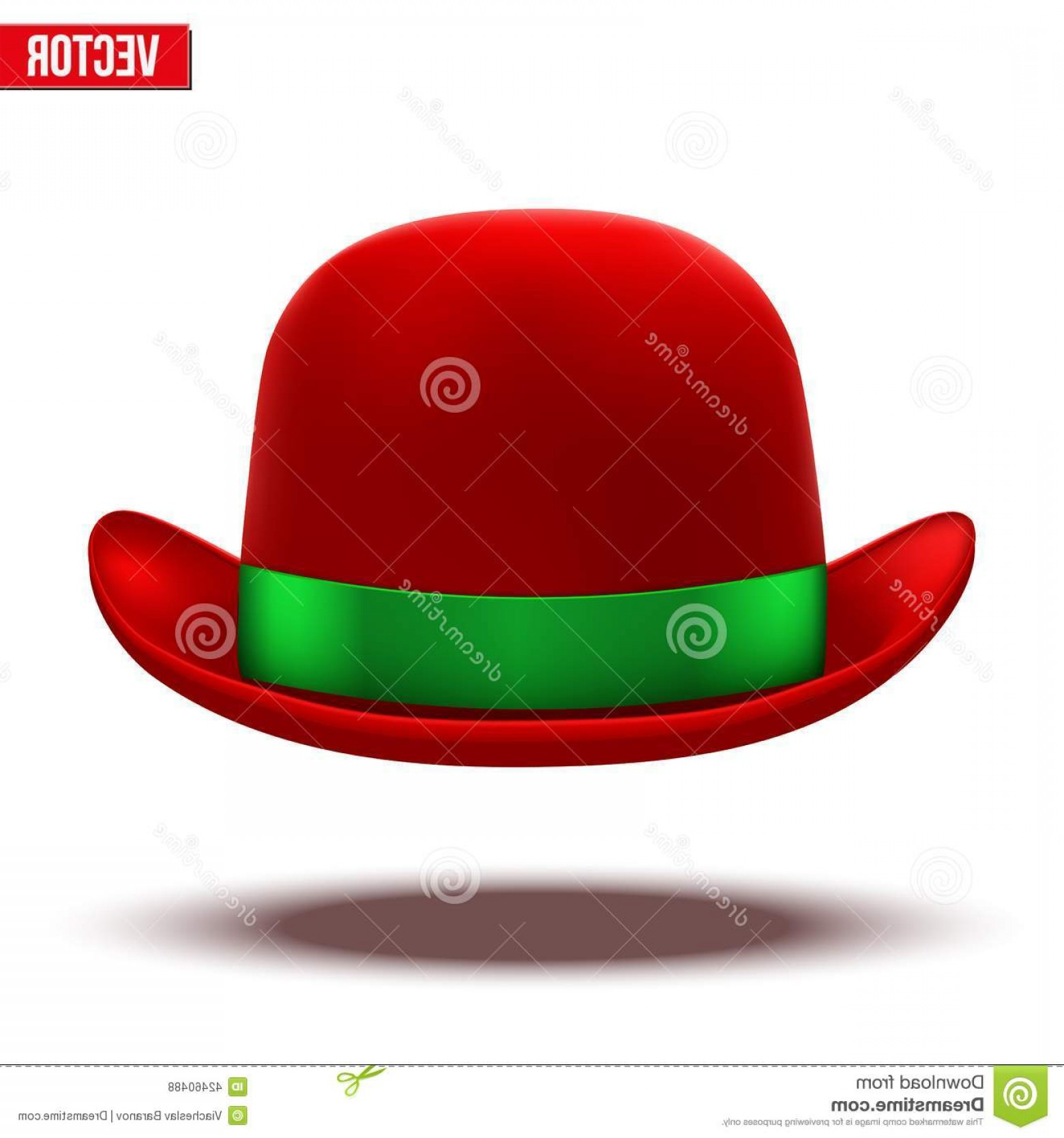 Bowler Hat Vector: Stock Illustration Red Bowler Hat White Background Vector Silk Green Ribbon Illustration Isolated Image