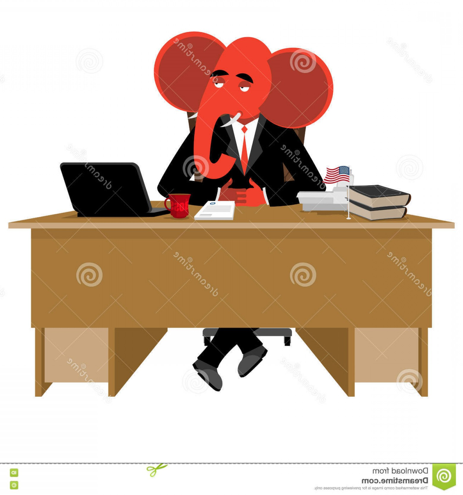Republican Elephant Vector: Stock Illustration Red Elephant Republican Sitting Office Animal Boss Table Symbol United States Political Parties Illustration Image
