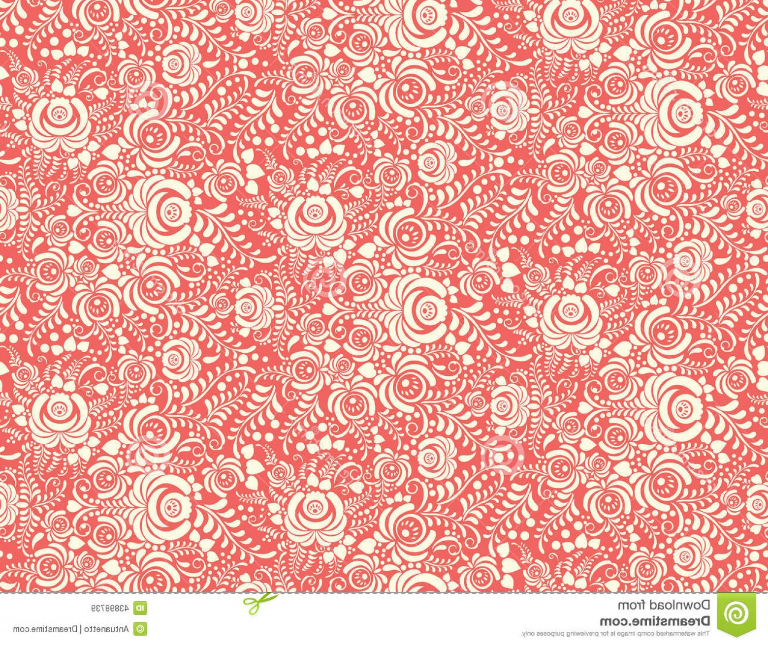 Russian Patterns Vector: Stock Illustration Red Floral Textile Vector Seamless Pattern Russian Gzhel Style Image
