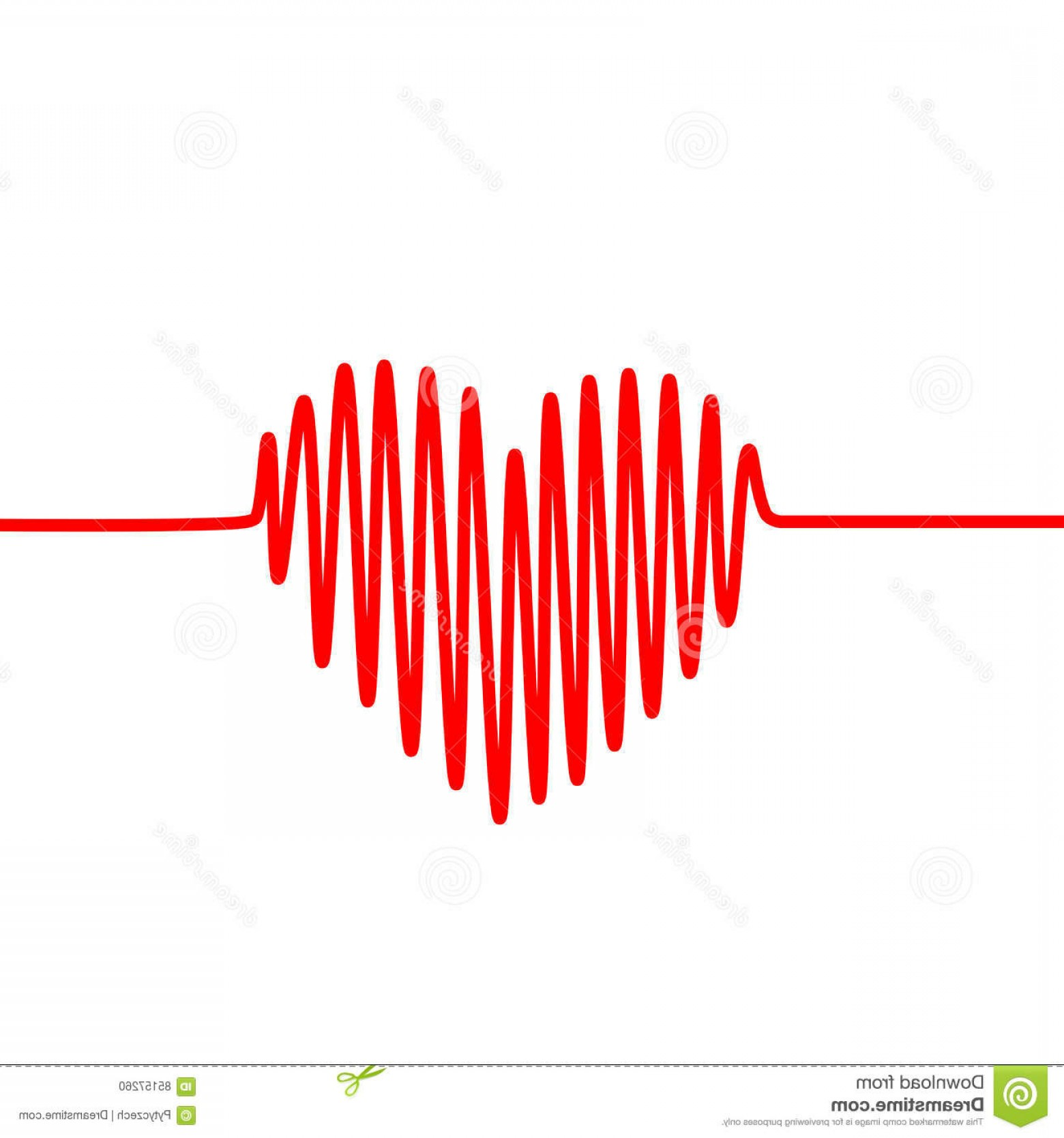 Heart With EKG Line Vector: Stock Illustration Red Heartbeat Line Shape Heart White Background Vector Graph Ecg Ekg Image