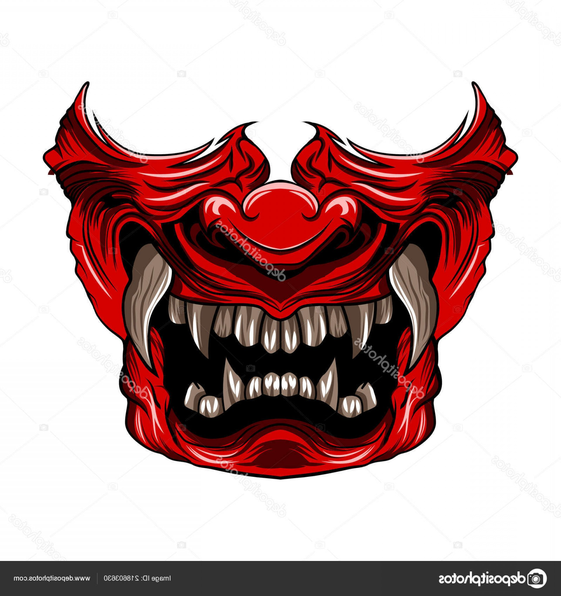 Red Samurai Vector: Stock Illustration Red Samurai Mask Vector Illustration