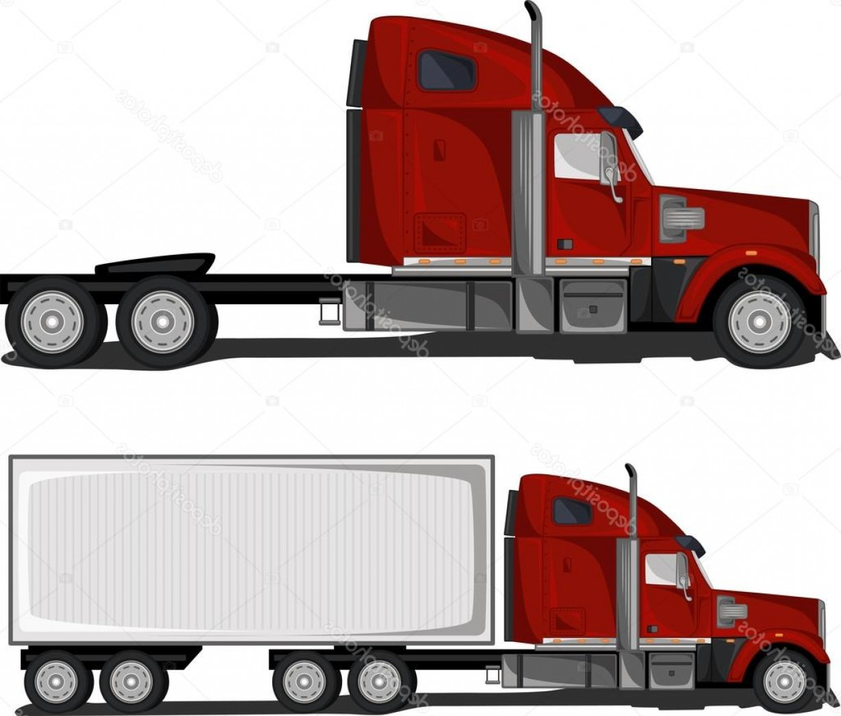 Gruas Truck Vector: Stock Illustration Red Truck With Trailer