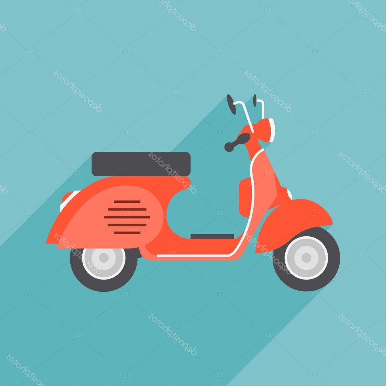 Flat Vector Motorcycle: Stock Illustration Red Vintage Motorcycle Vector Illustration