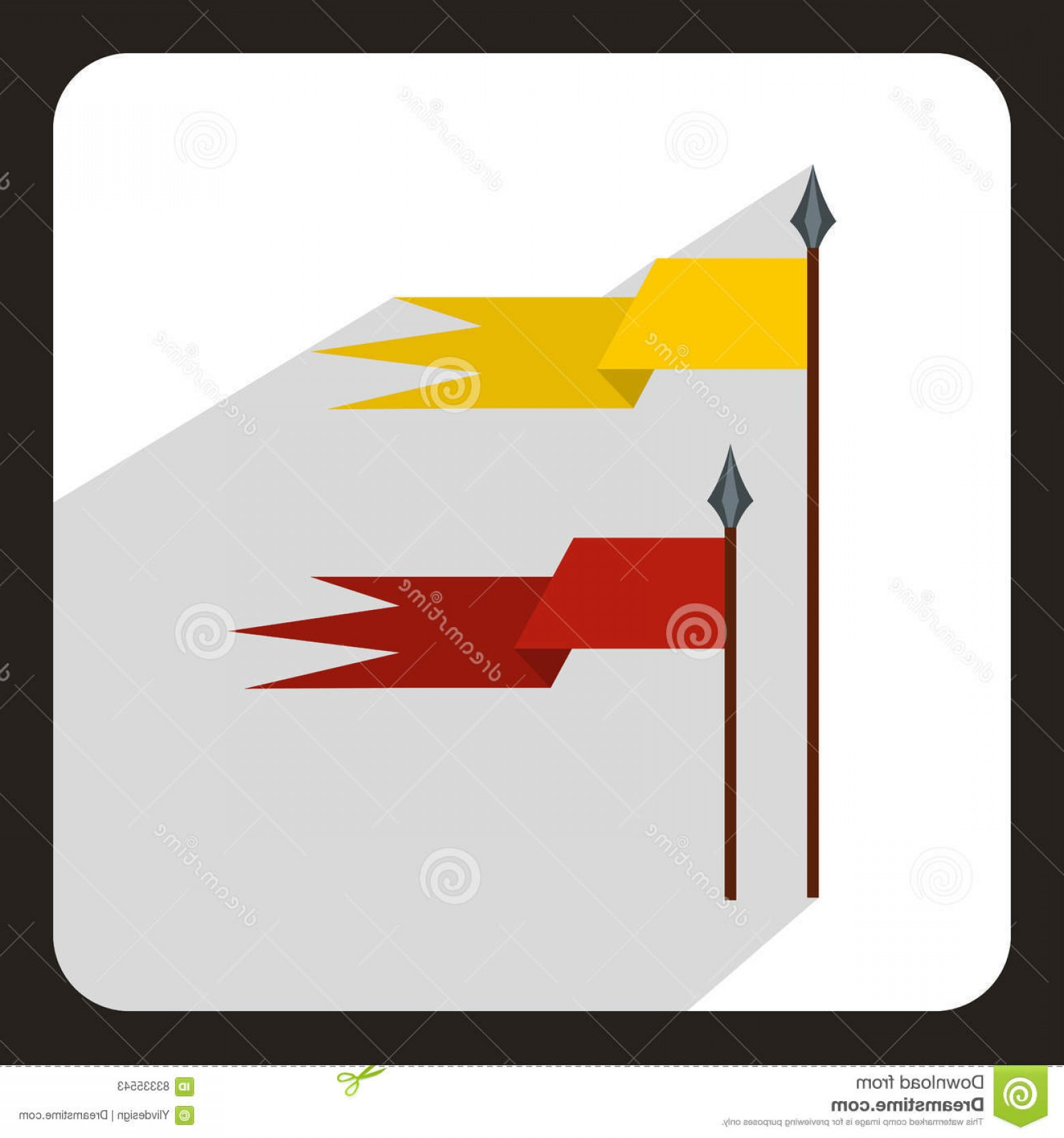 Vector Ancient Battle: Stock Illustration Red Yellow Ancient Battle Flags Icon Flat Style White Background Vector Illustration Image