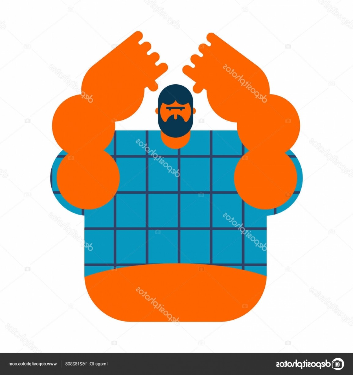 Redneck Family Vector Graphic: Stock Illustration Redneck Isolated Angry Bearded Man