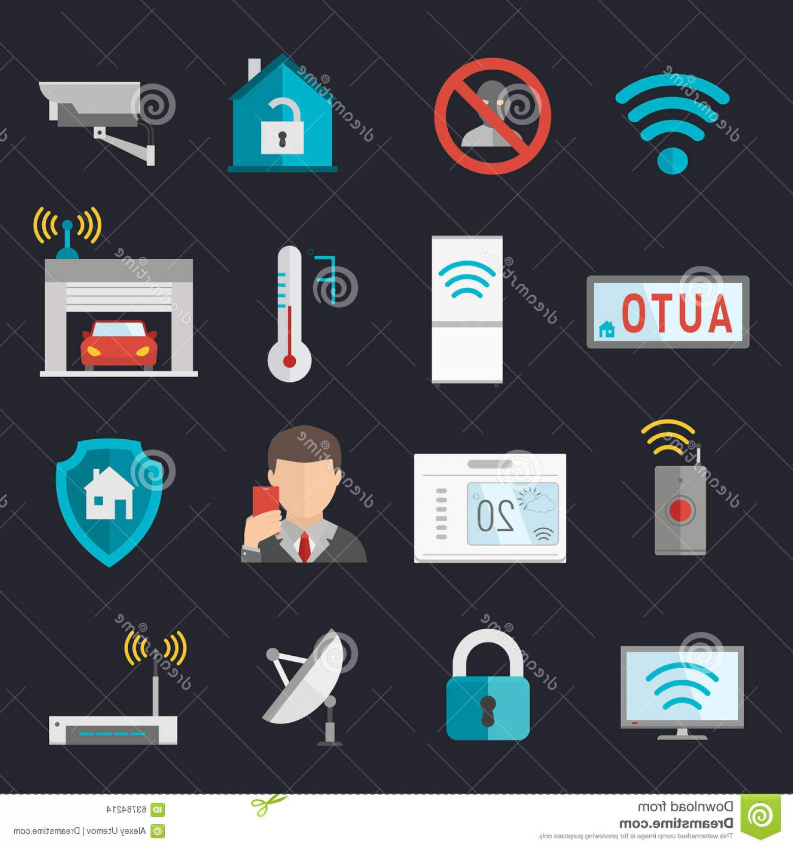 Smart Home Remote Vector: Stock Illustration Remote Home Control System Smart House Vector Illustration Icons Set Image