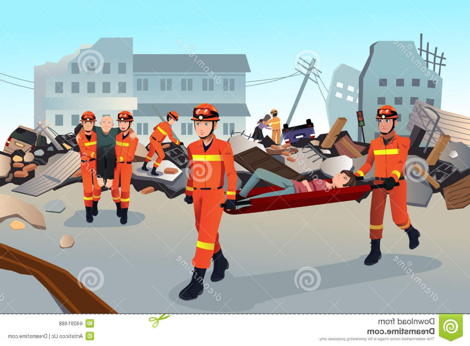 Earthquake Rescue Vector: Stock Illustration Rescue Teams Searching Destroyed Buildings Vector Illustration Earthquake Image