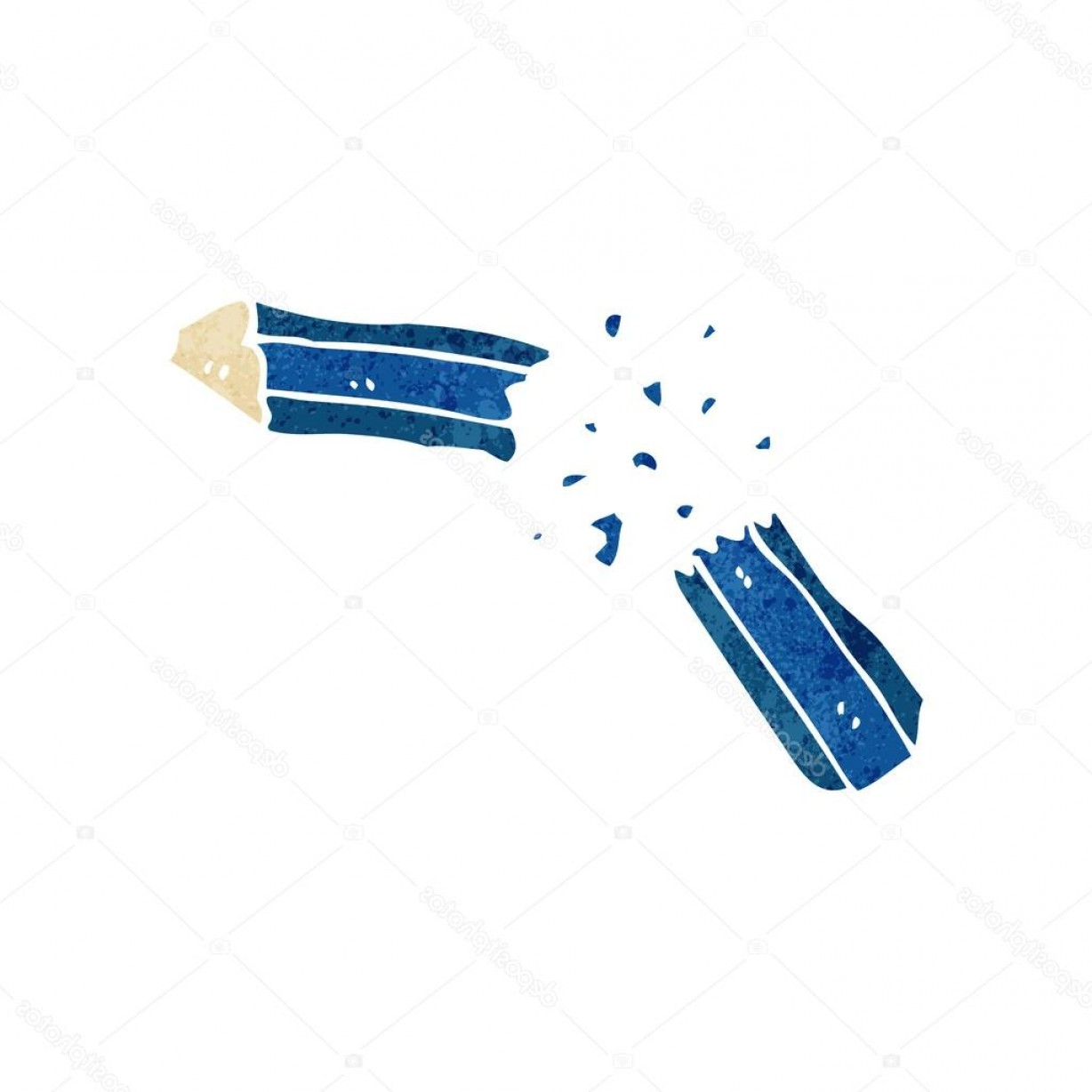 Broken Pencil Vector: Stock Illustration Retro Cartoon Broken Pencil