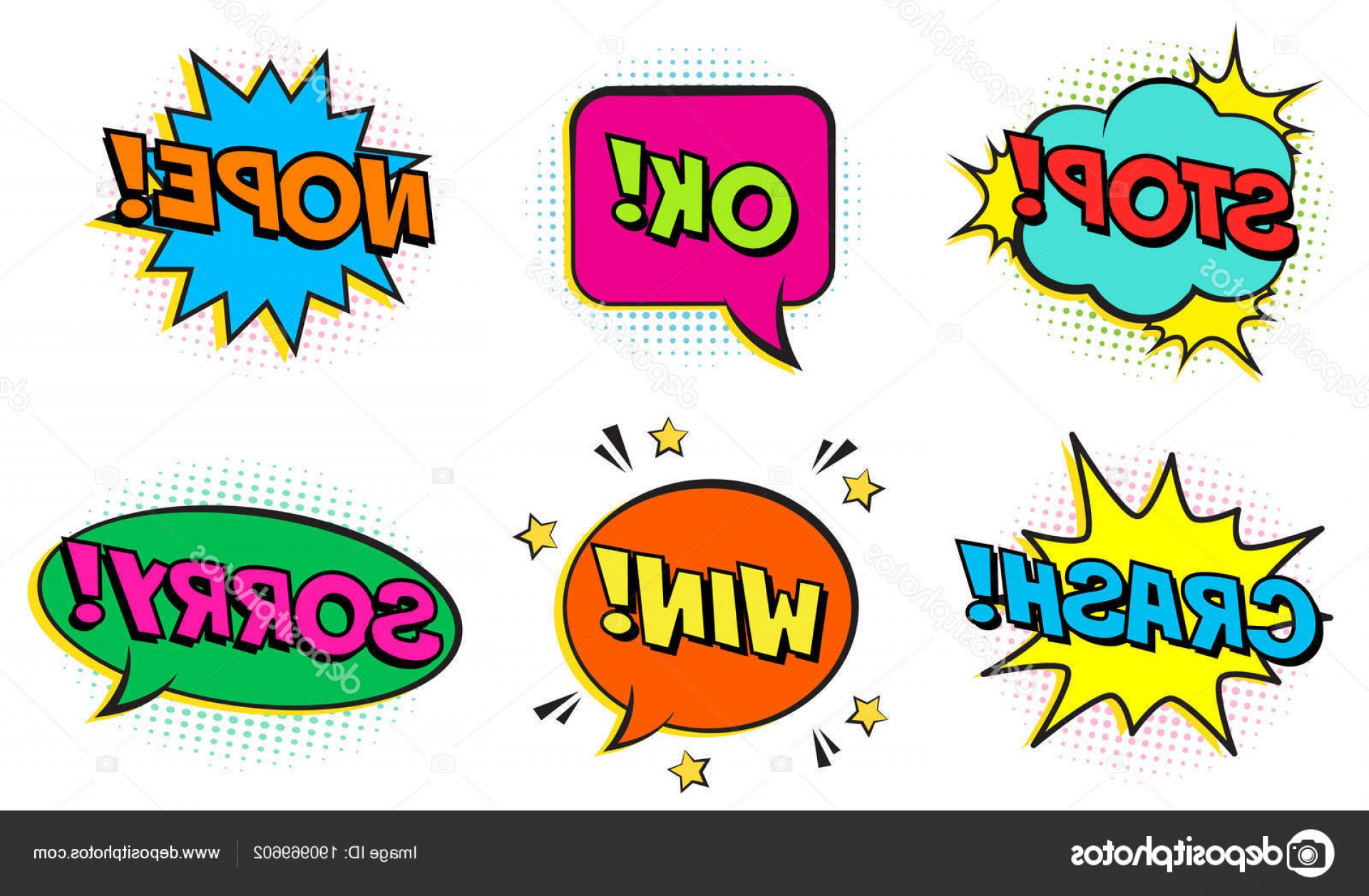 Text Illustrator Vector: Stock Illustration Retro Comic Colorful Speech Bubbles