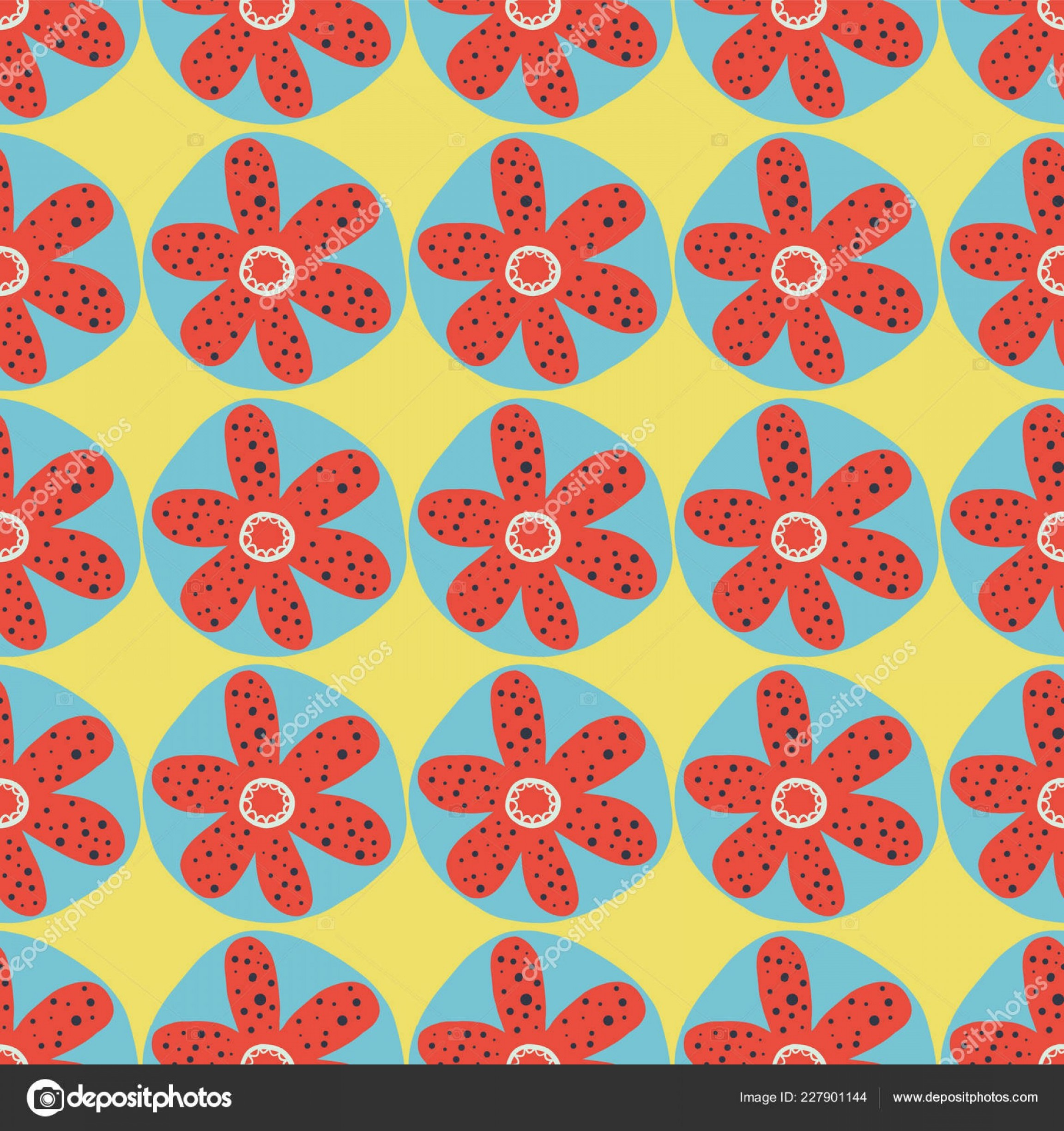 Distressed Red Background Vector: Stock Illustration Retro Flowers Seamless Vector Background