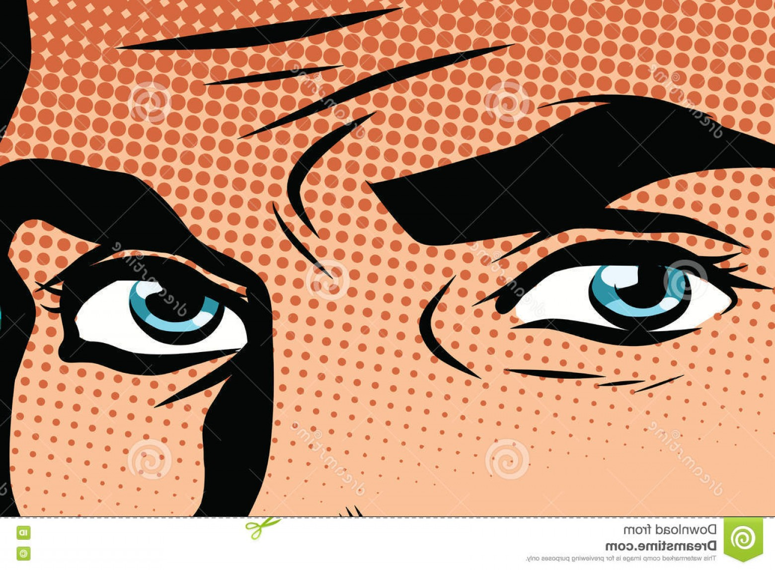 Male Eyes Vector Graphic: Stock Illustration Retro Male Blue Eyes Pop Art Vector Look Man Illustration Eye Color Vector Image