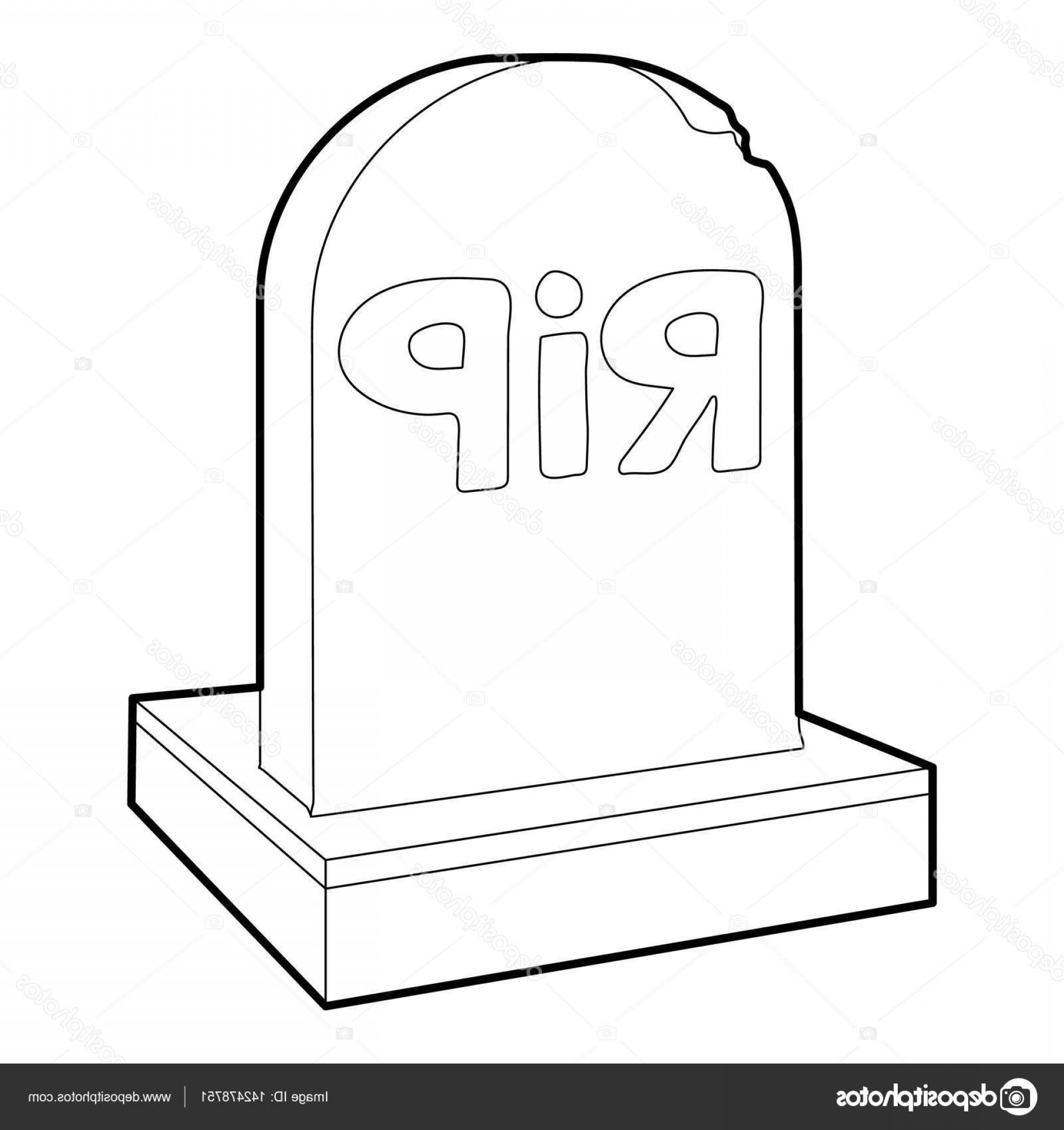 Gravestone Outline Vector: Stock Illustration Rip Icon Outline Style