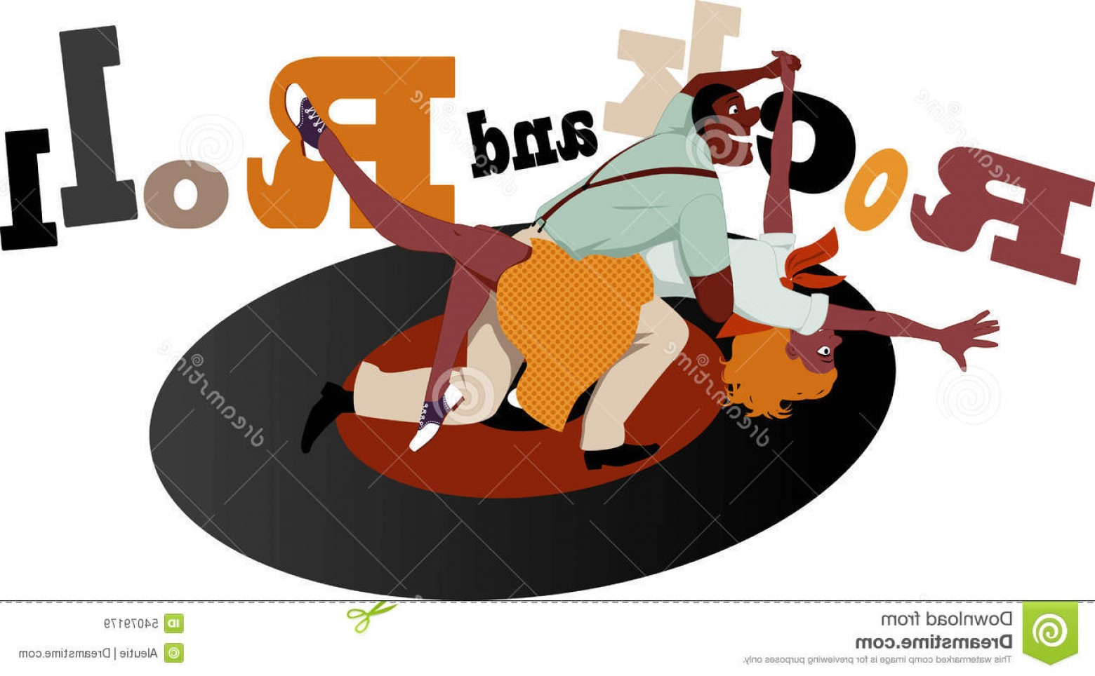 Vinyl Roll Vector: Stock Illustration Rock Roll Young Couple Dressed S Fashion Dancing Vinyl Record Lettering Background Vector Illustration No Image