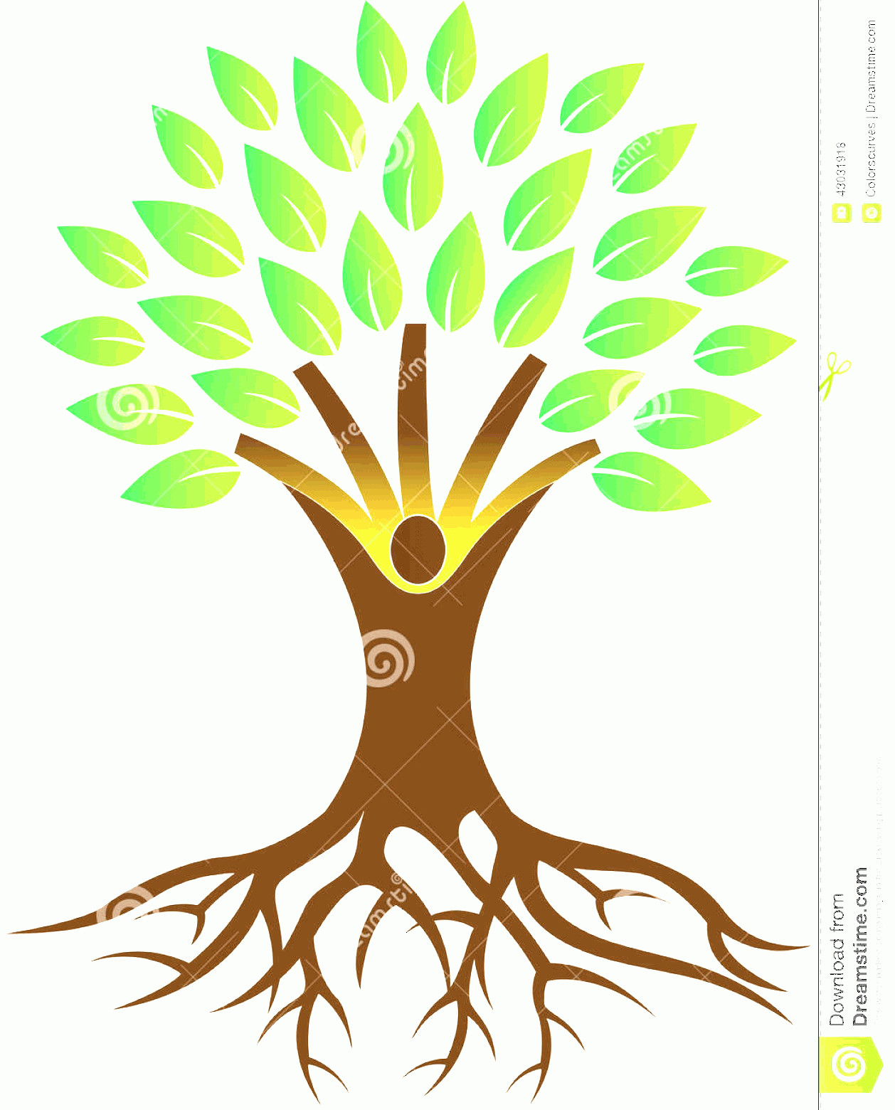 Vector Tree With Roots Drawing: Stock Illustration Root Tree Vector Drawing Represents Design Image