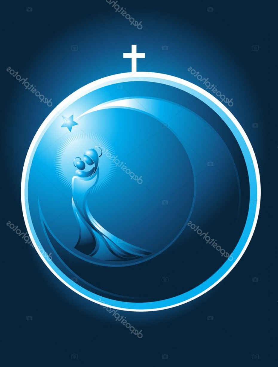 Mary Halo Vector: Stock Illustration Round Christmas Icon Of Mary