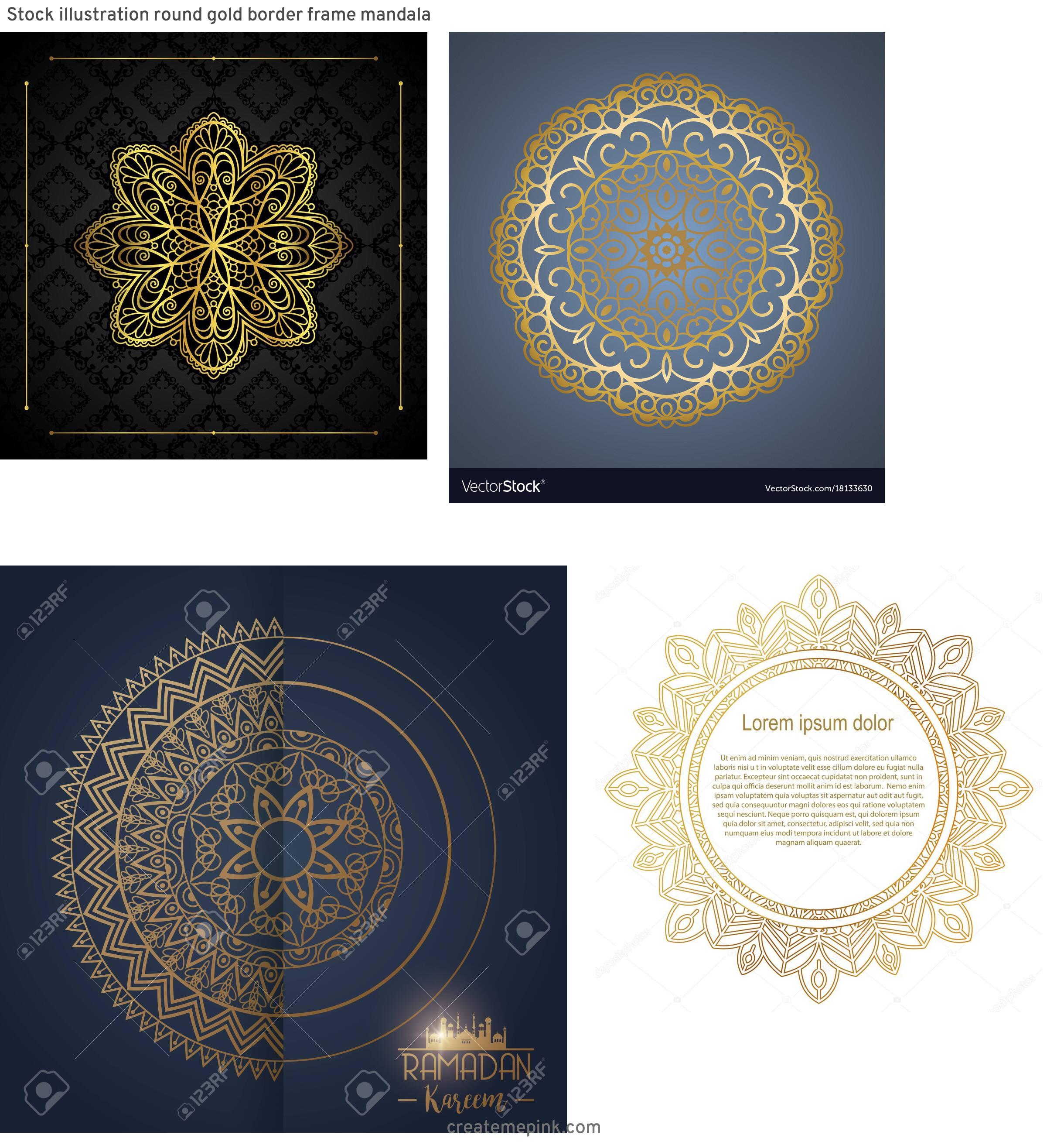 Mandala Gold Frame Vector: Stock Illustration Round Gold Border Frame Mandala
