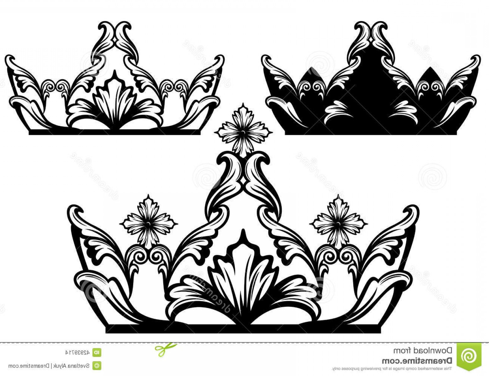 Crown White Outline Vector: Stock Illustration Royal Crown Black White Design Luxury Jewelry Set Vector Collection Image