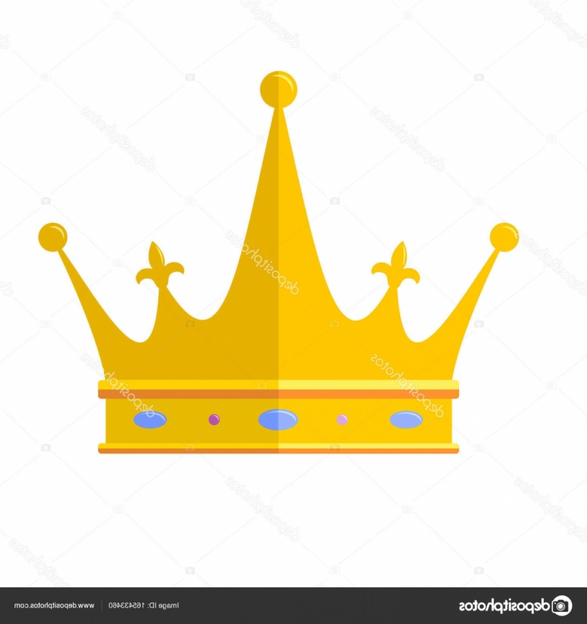 Crown White Outline Vector: Stock Illustration Royal Crown Flat Icon Isolated