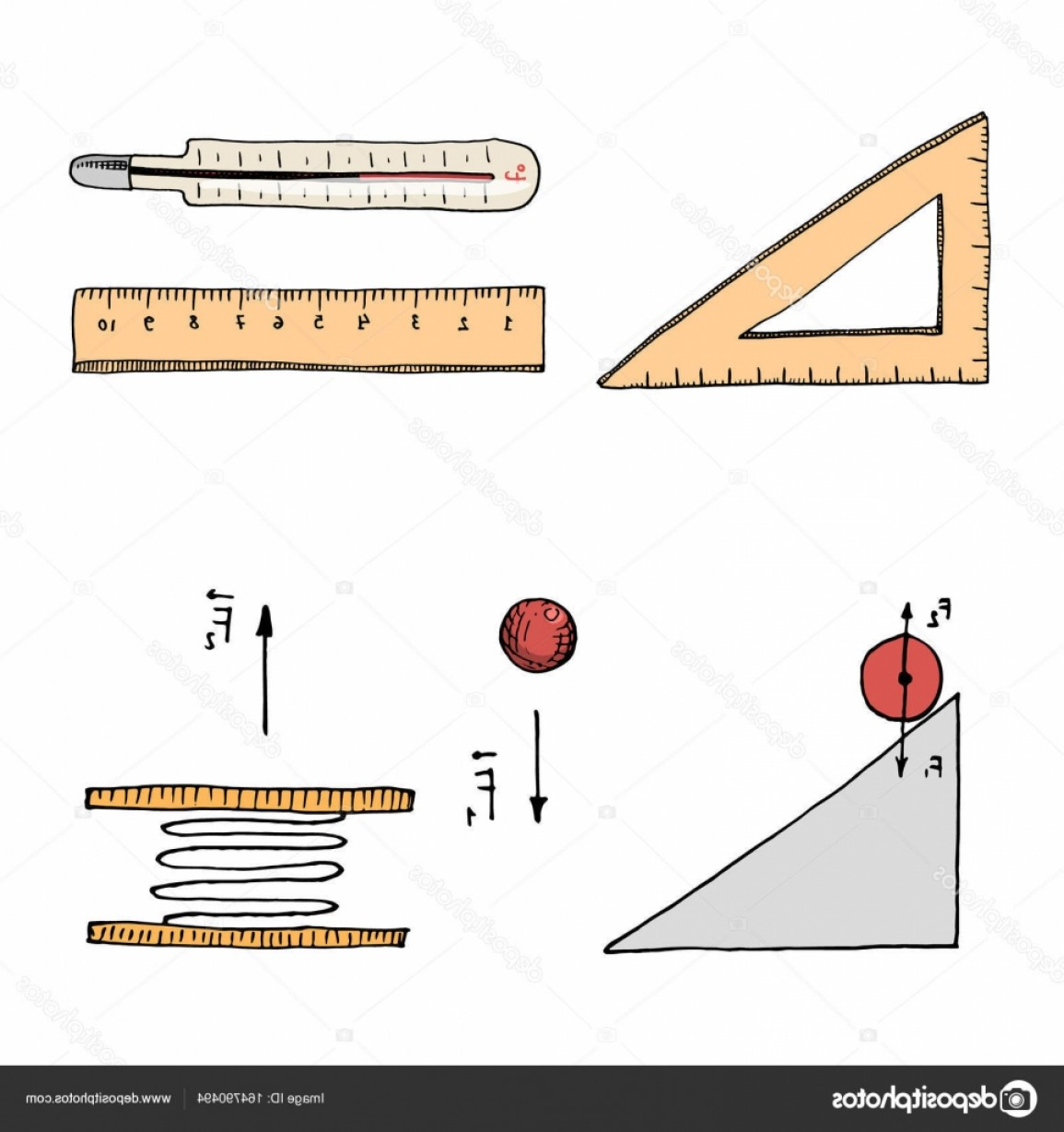 Graphing Vectors Physics: Stock Illustration Ruler And Thermometer Circuit And