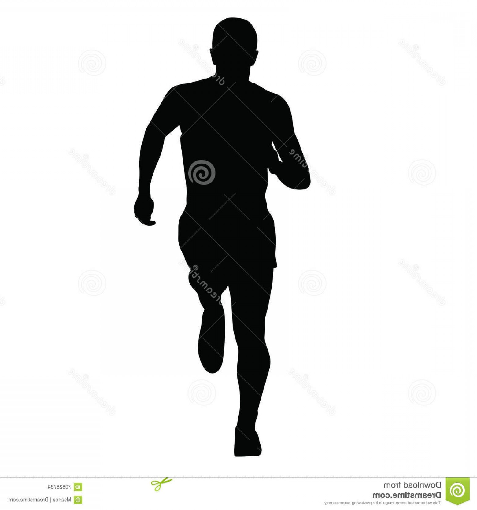 Male Silhouette Vector Art: Stock Illustration Runner Vector Silhouette Isolated Running Man Front View Image