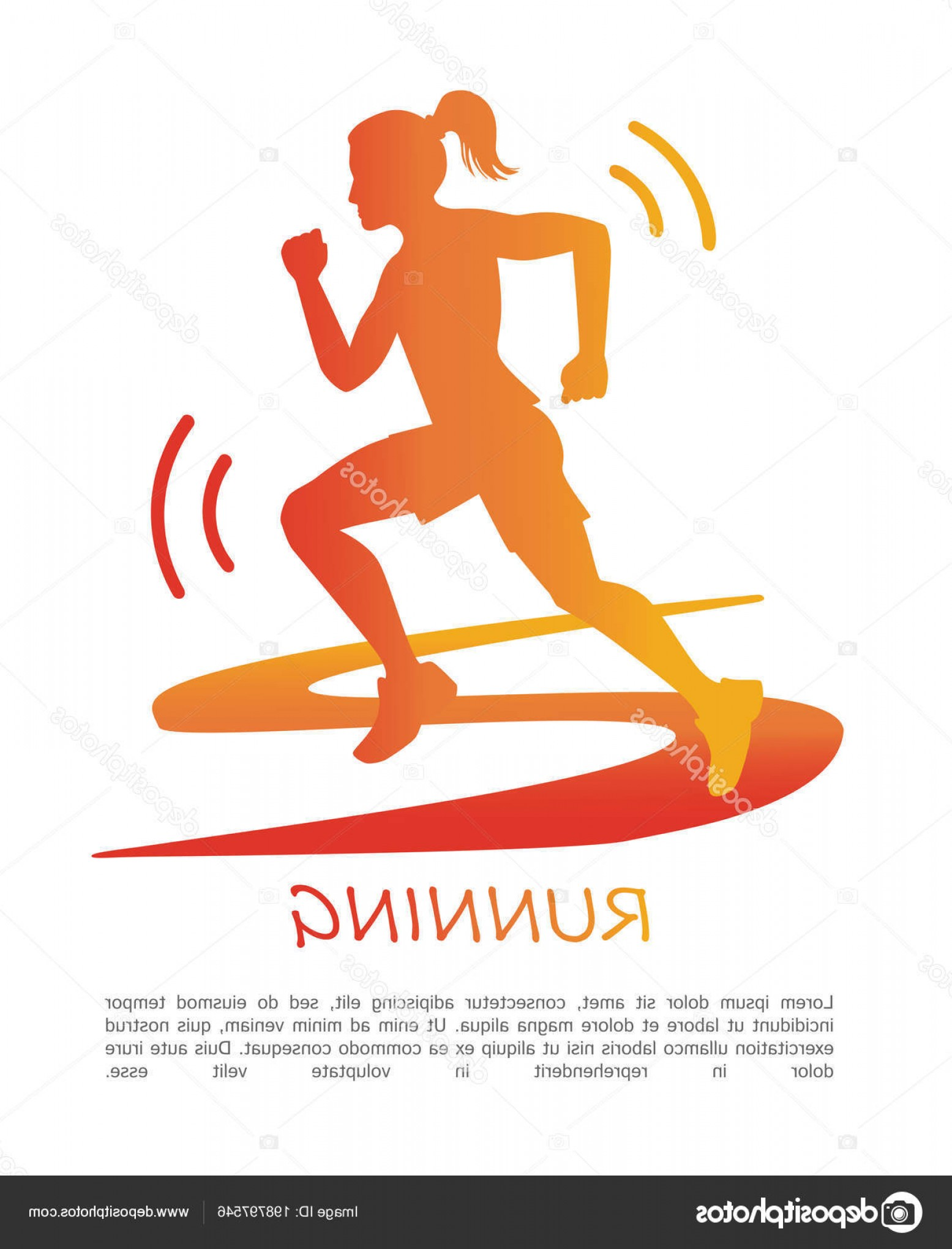 Vector Silhouette Of Girl Running Track: Stock Illustration Running Vector Poster Design Silhouette