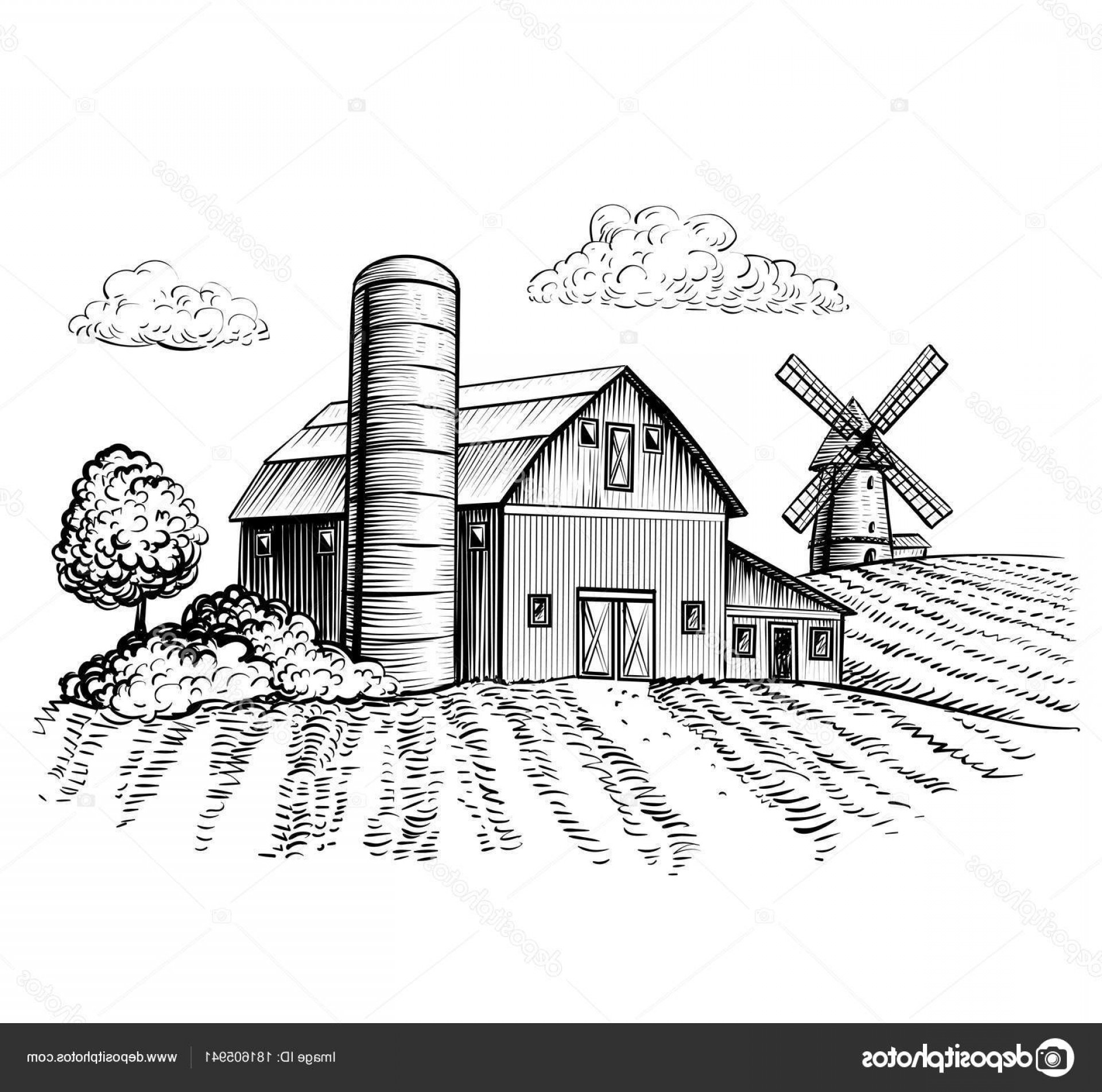 Barn Outline Vector: Stock Illustration Rural Landscape Farm Barn Windmill