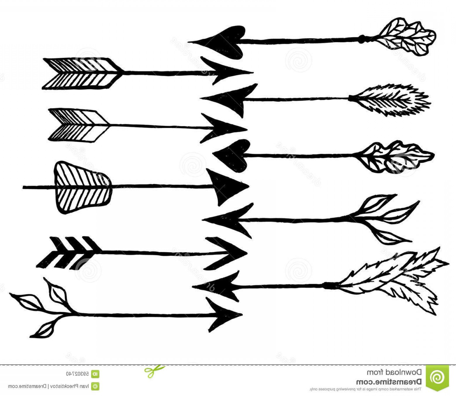 Small Arrow Vector Stock Illustration Rustic Arrows Cute Hand Drawn Doodles Set Tribal Ethnic Hipster