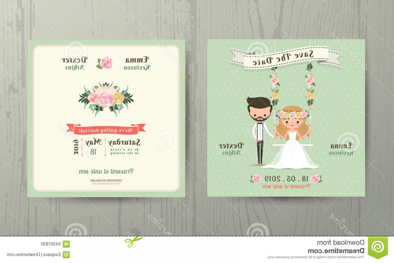 Rustic Wedding Invitation Vector: Stock Illustration Rustic Wedding Cartoon Bride Groom Couple Invitation Card Wood Background Image