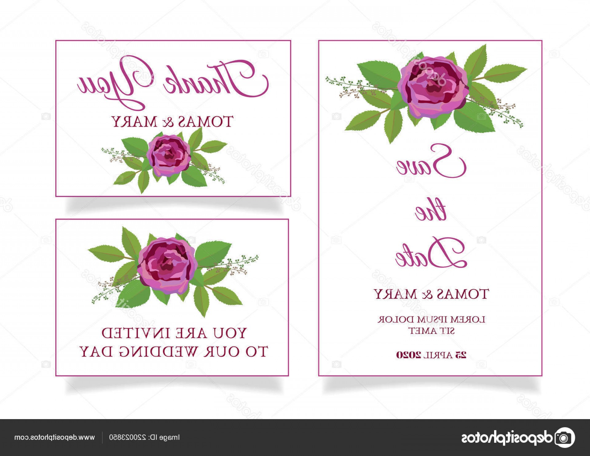 Rustic Wedding Invitation Vector: Stock Illustration Rustic Wedding Invitation Template Rose