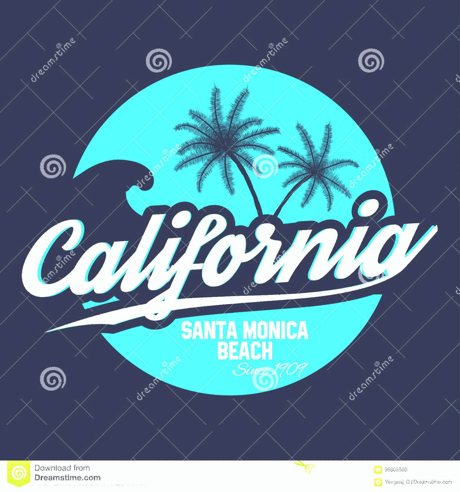 Vectorgraph 80s: Stock Illustration S Style Surf Sport Typography T Shirt Graphic California Tee Graphic Vector Image