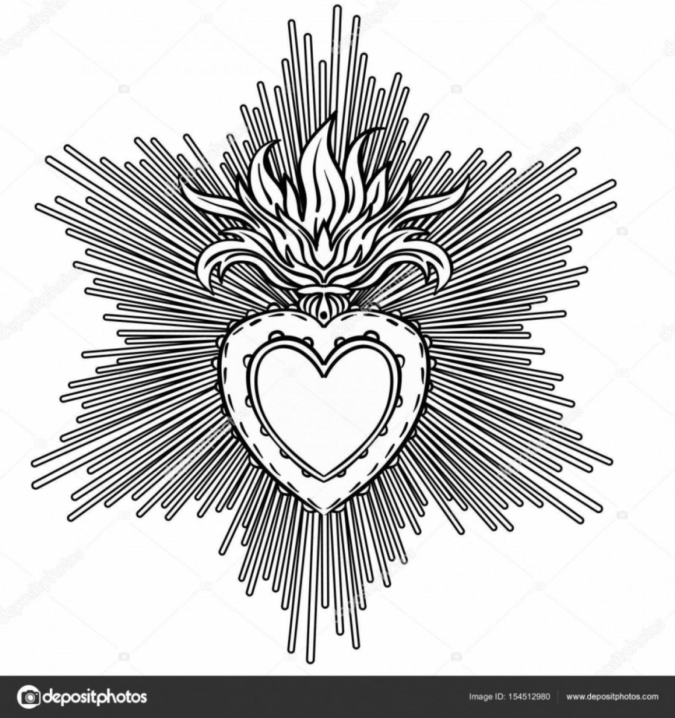 Sacred Heart Vector: Stock Illustration Sacred Heart Of Jesus With