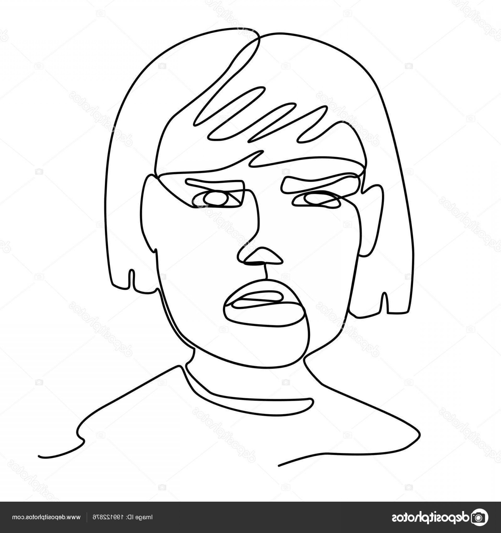 Woman Silhouette Vector Face Expression: Stock Illustration Sad Woman One Line Art