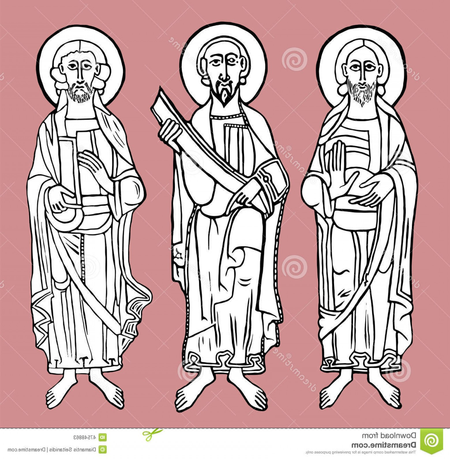 Faith Lions Vector Art Images: Stock Illustration Saint Figures Vector Illustration Eps Image